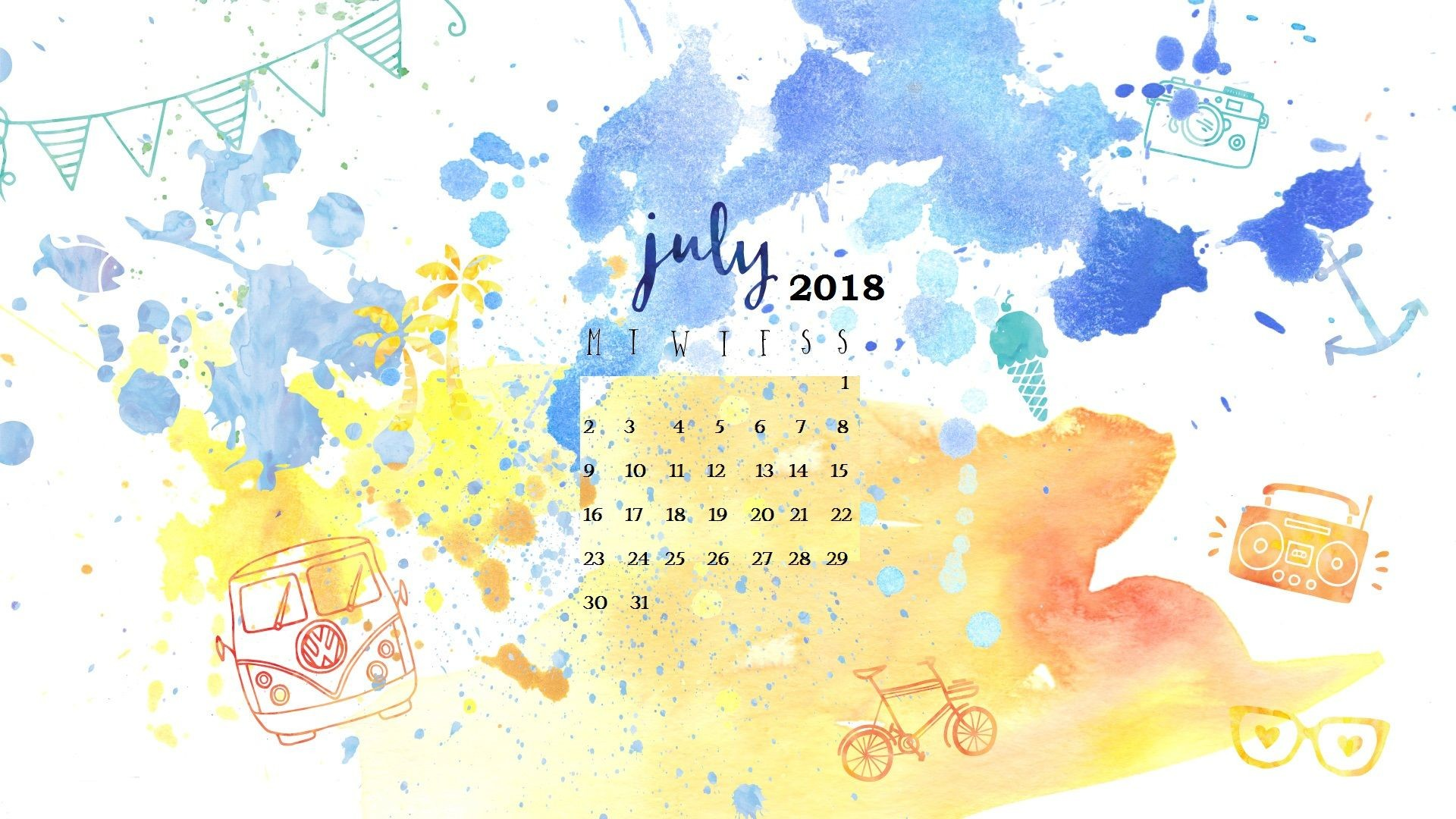 1920x1080 Watercolor July 2018 Calendar Wallpapers Designs Layouts Free Download For  PC Laptop Smart Gadgets