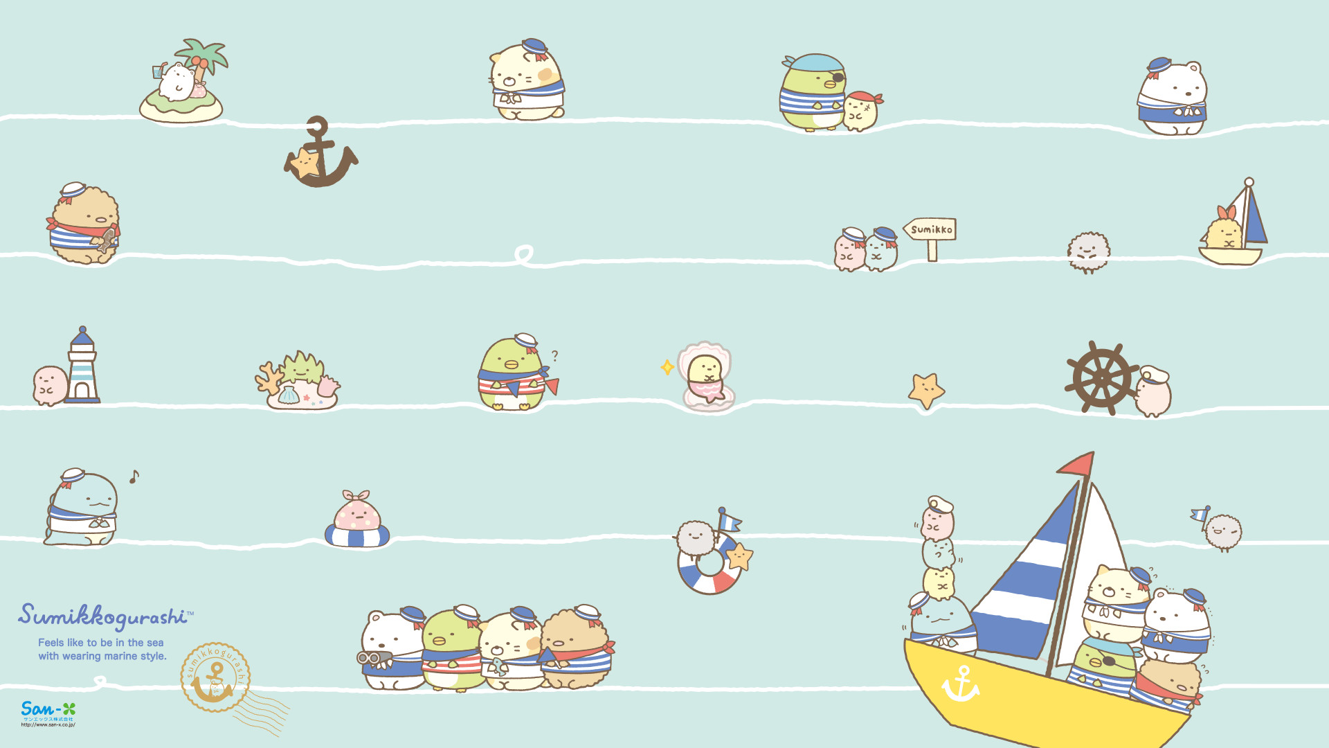 1920x1080 Sumikkogurashi Marine Series Wallpaper