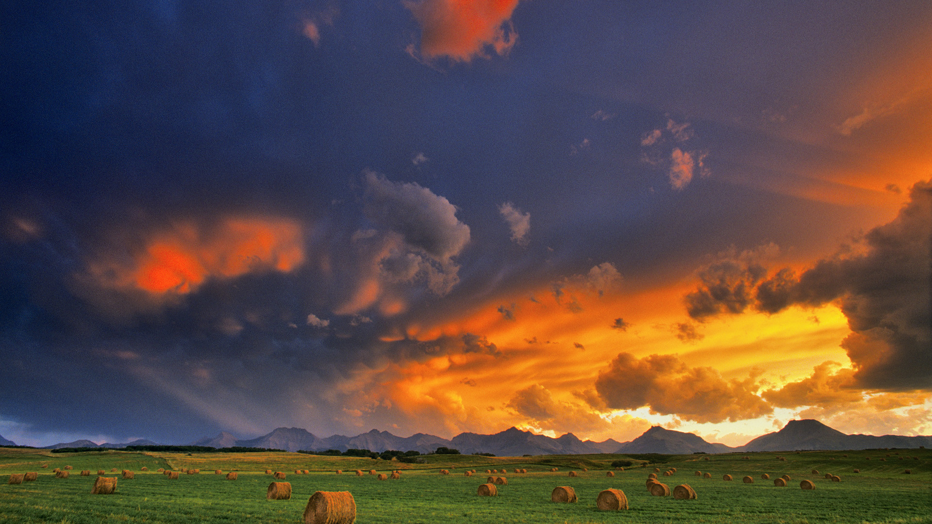 1920x1080 ... Landscape wallpapers (12) ENGLAND Hay bales in a field, Alberta, ...