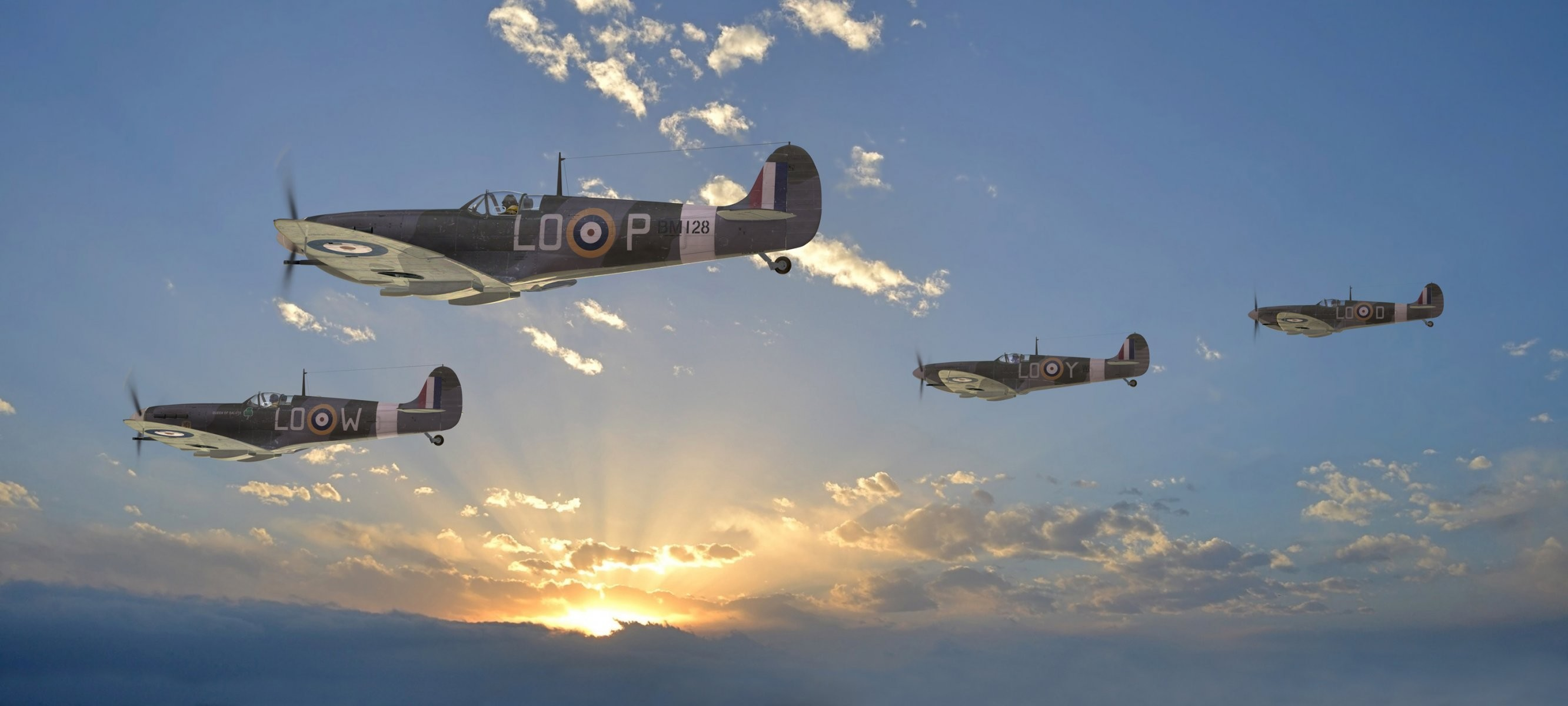 2665x1200 sky supermarine spitfire uk fighters clouds sun rays ww2 .