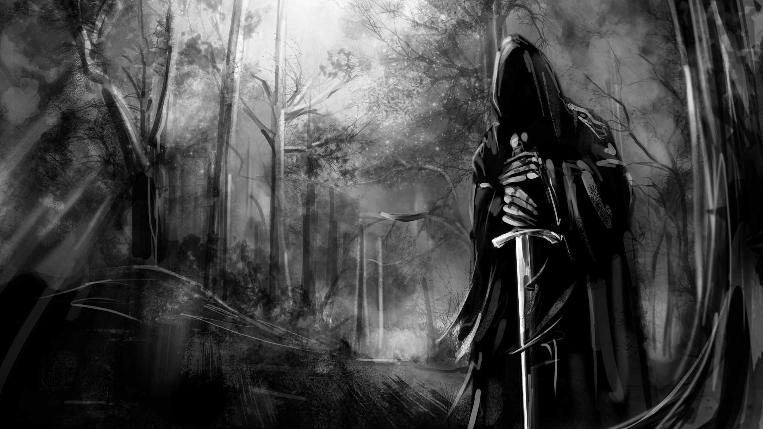 2560x1440 Dark Forest, Black And White, Sword, Scary