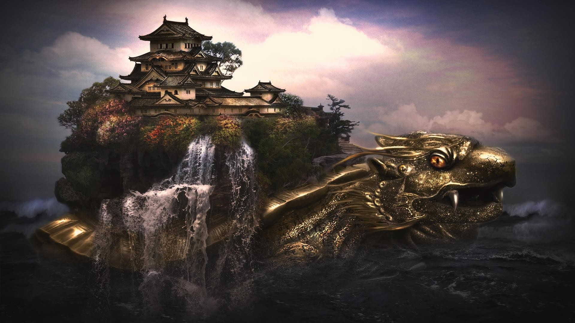 1920x1080 fantasy worlds wallpaper tags dragon water forest fantasy world .
