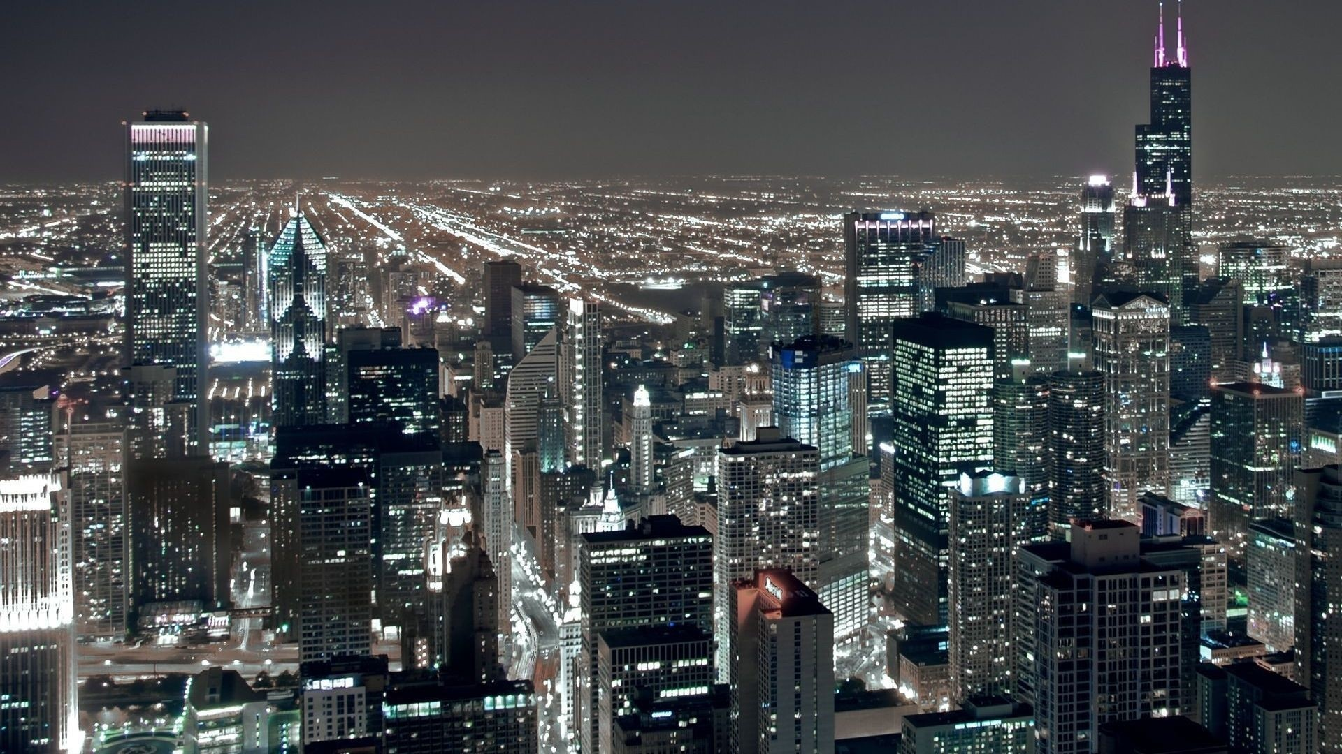 Chicago At Night Wallpaper: Chicago Skyline Wallpaper 1920x1080 (74+ Images