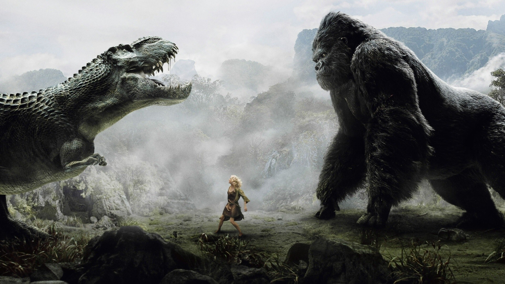 1920x1080 Dinosaur Wallpaper #1: T-Rex Versus King Kong