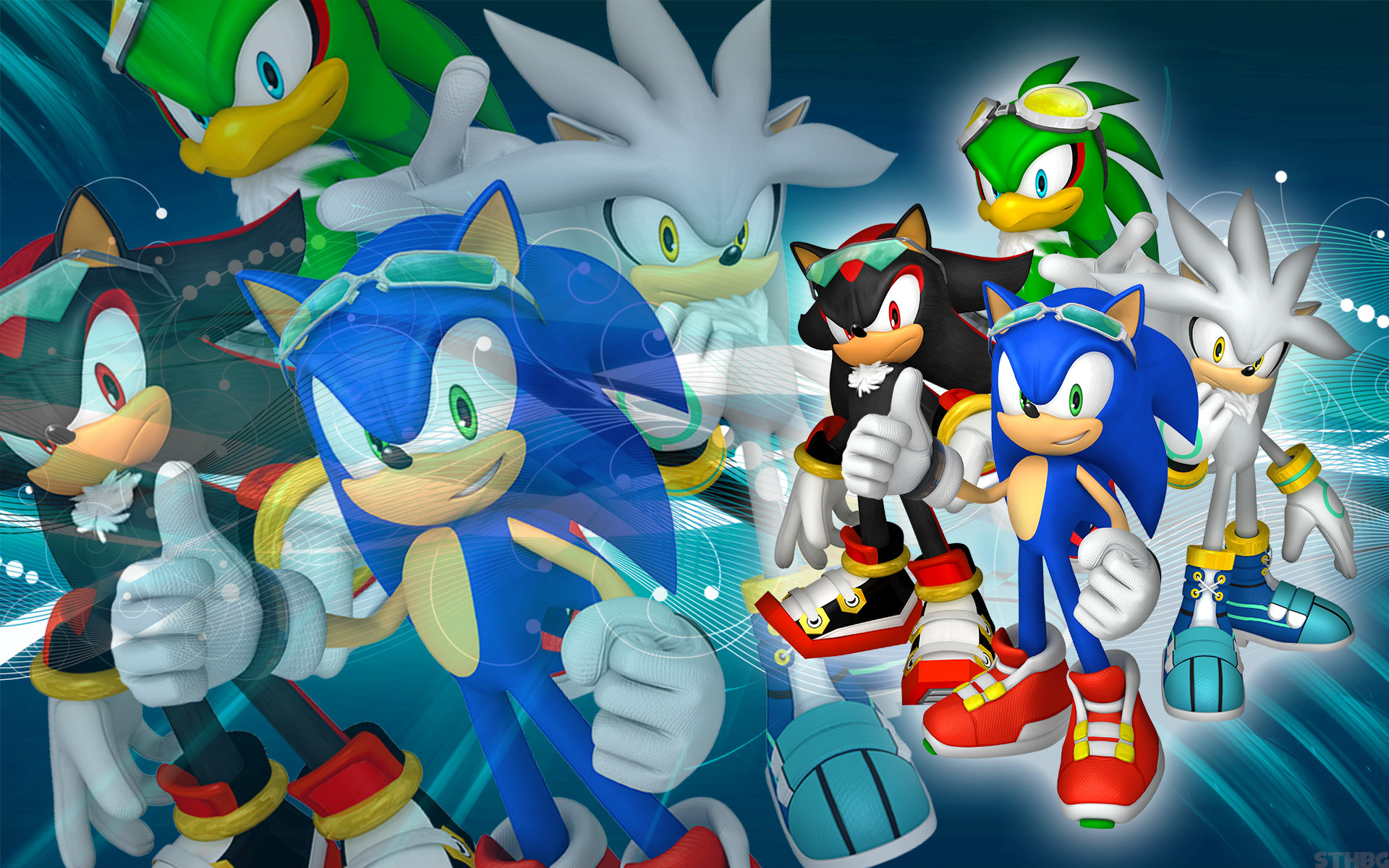 1920x1200 ... SonicTheHedgehogBG Sonic, Shadow, Silver And Jet - SFR - Wallpaper by  SonicTheHedgehogBG