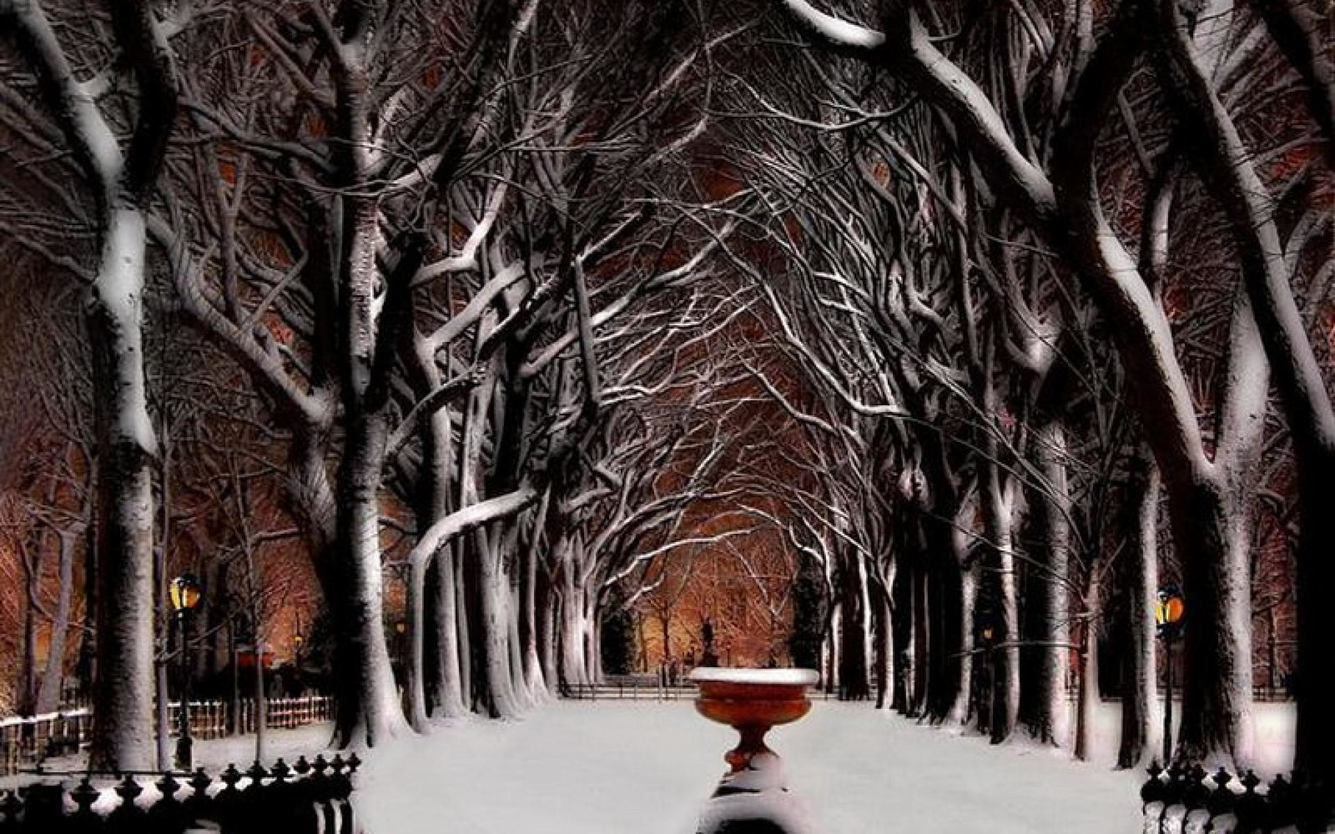 1920x1200 Snow, Central Park Winter, Fountain, New York, Trees, United States.