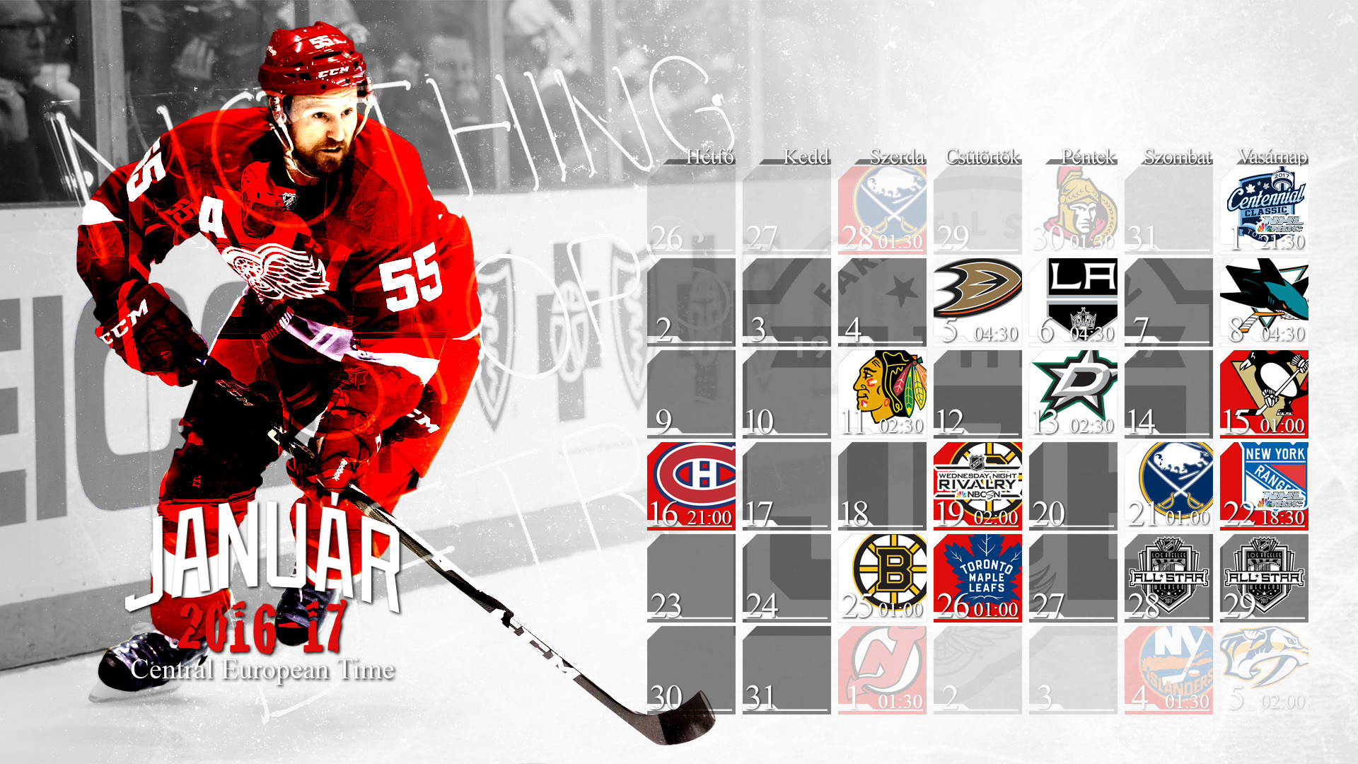 1920x1080 Schedule Wallpaper for the Detroit Red Wings Regular Season 2016. Game  times are CET,