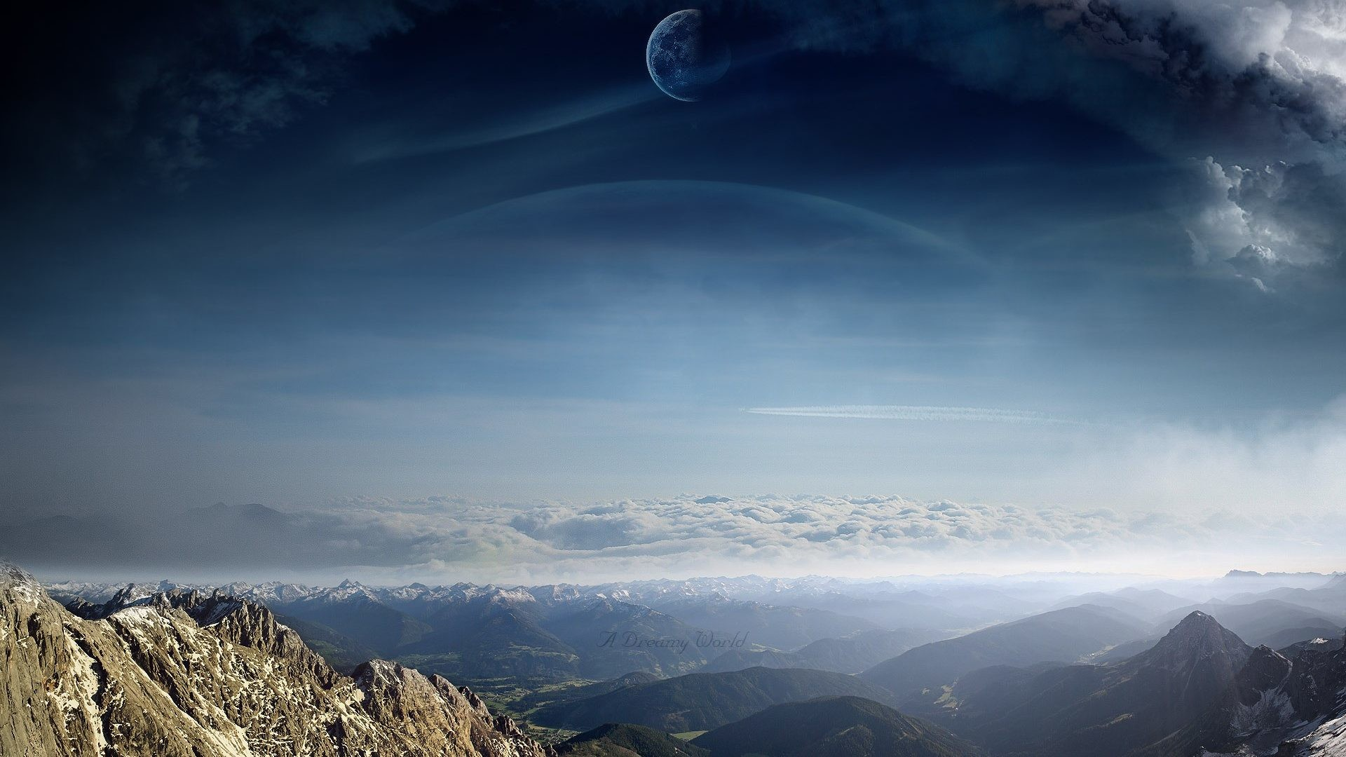 1920x1080 Alien Scenic Clouds Landscapes Moons Dreamy Planets Sci Manipulations  Digital Mountains Skies Art Hd Nature Wallpaper