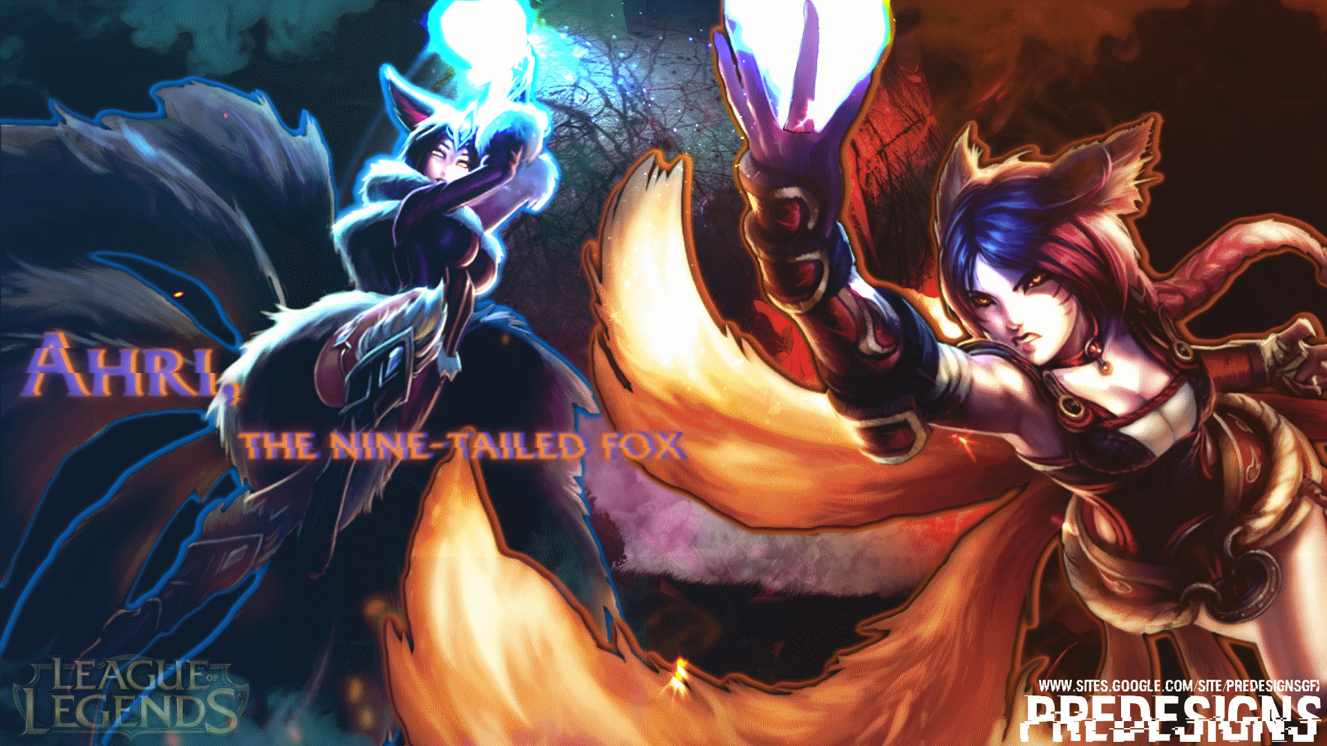 1920x1080 ... Of Legends) Ahri, the Nine-Tailed Fox EDIT by Predesigns