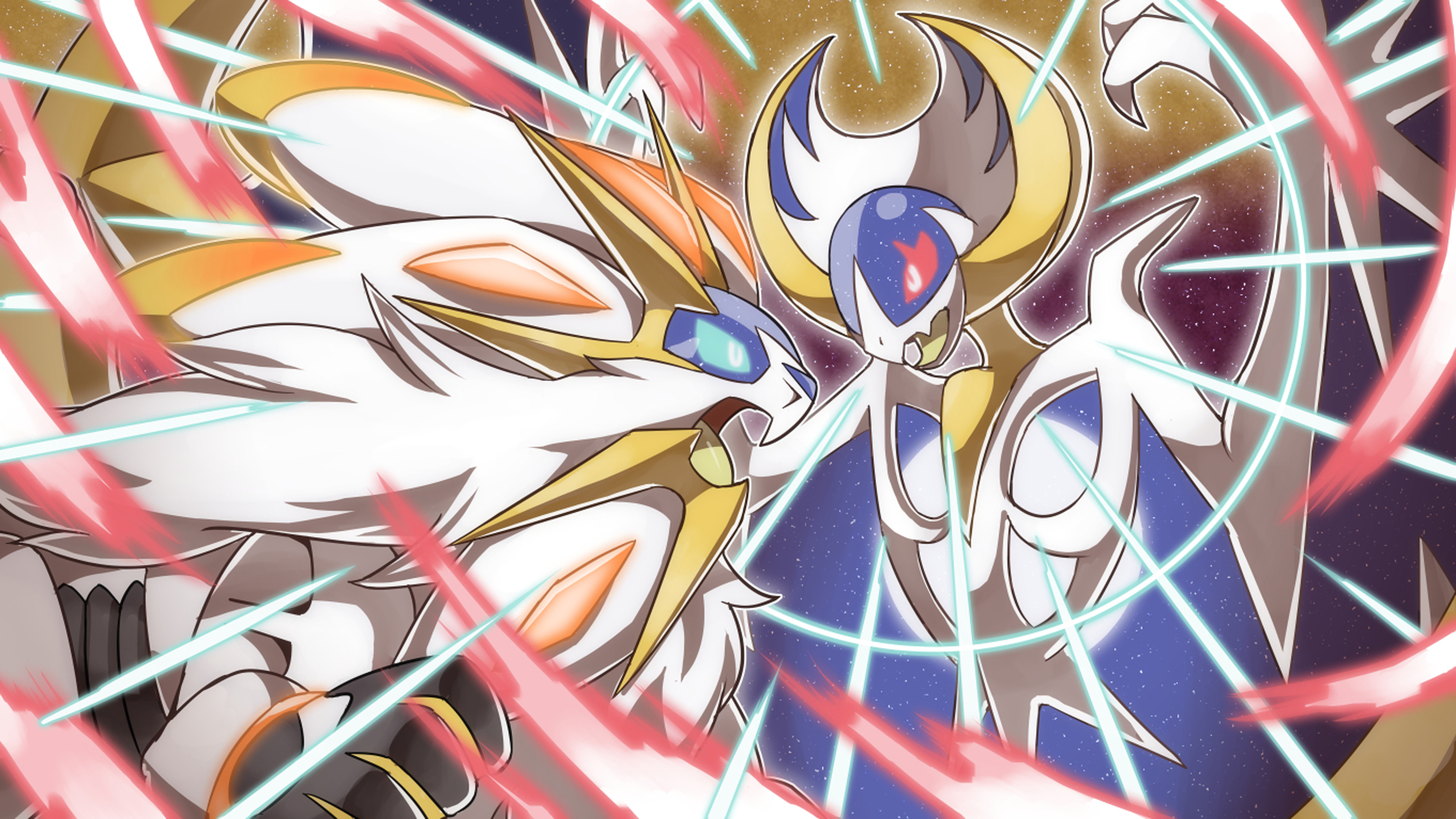 3840x2160 Video Game - Pokémon Sun and Moon Solgaleo (Pokémon) Pokémon Sun Lunala  (Pokémon
