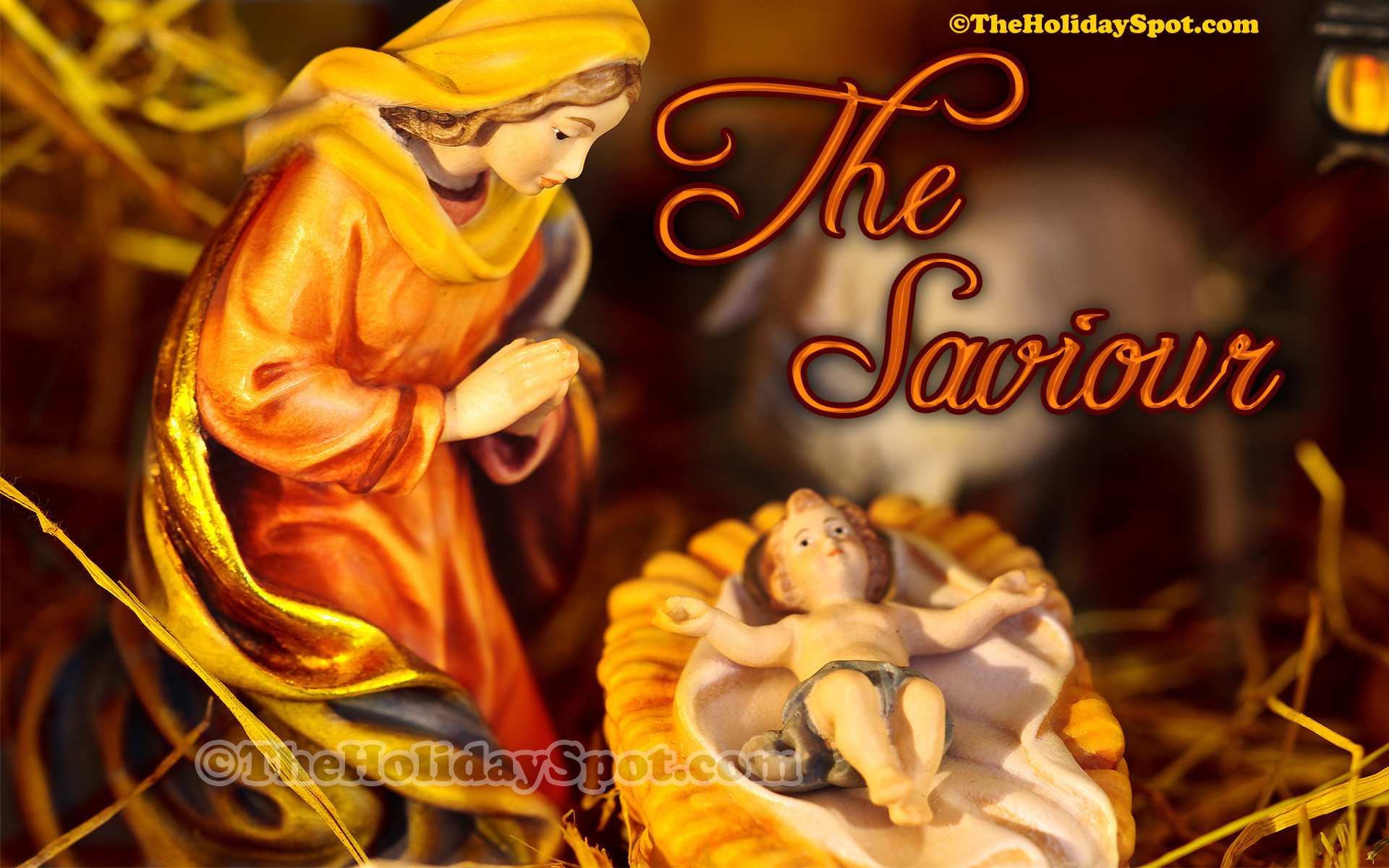 1920x1200 An elegant christmas wallpaper themed on birth of Christ.