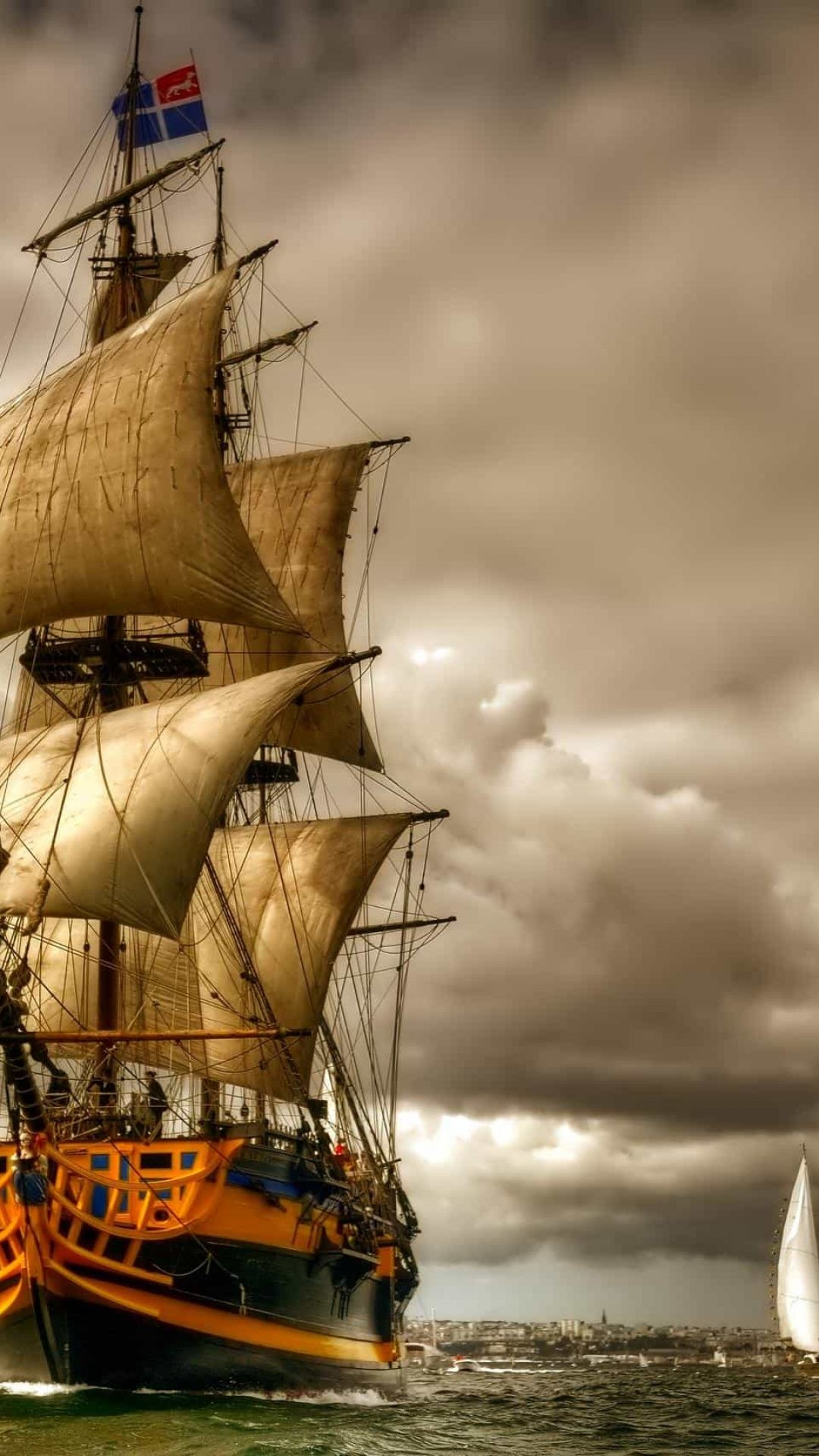 1080x1920 sailing ship wallpaper desktop