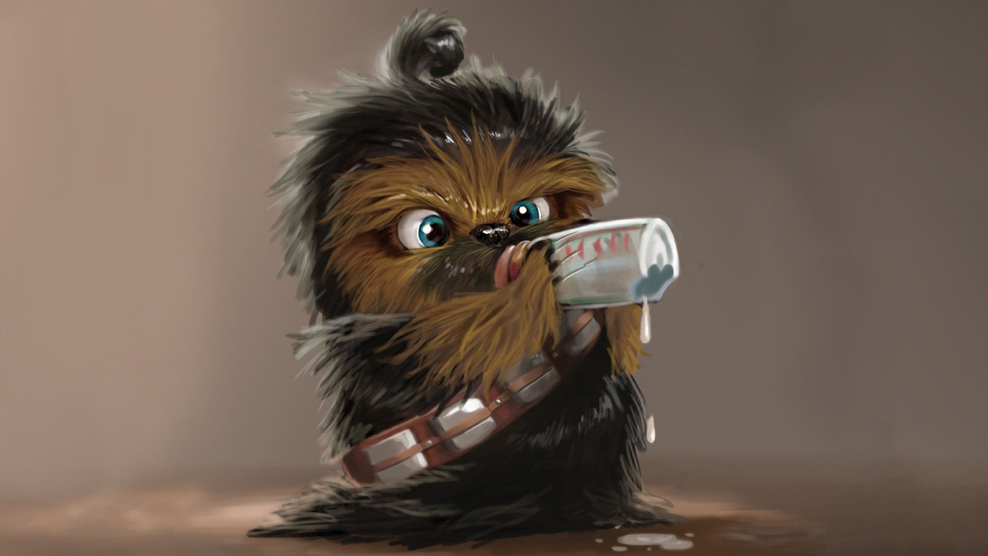 1920x1080  Wallpaper star wars, chewbacca, drink, baby