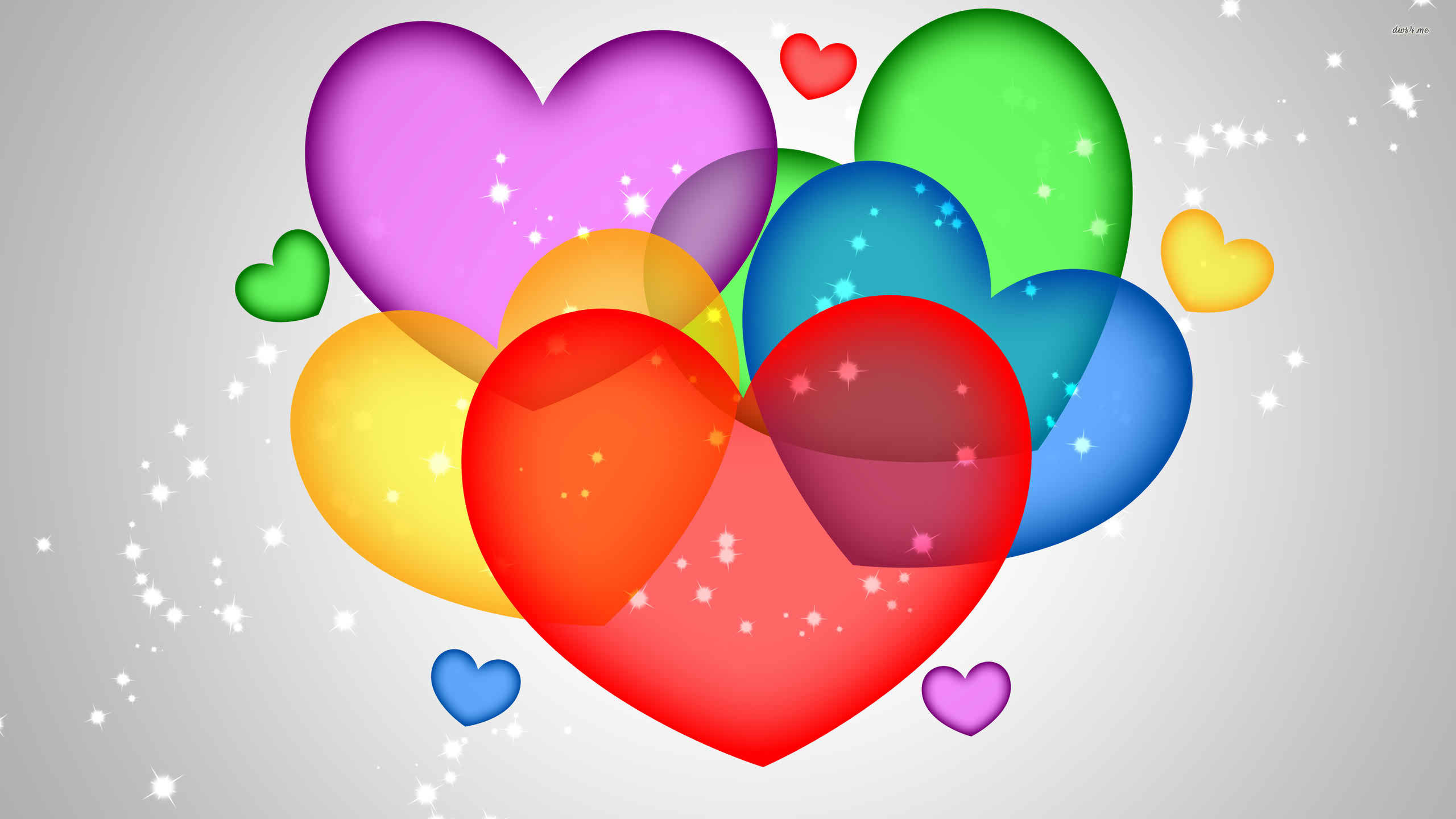 2560x1440 Colorful Hearts Wallpaper 1080p #Owi