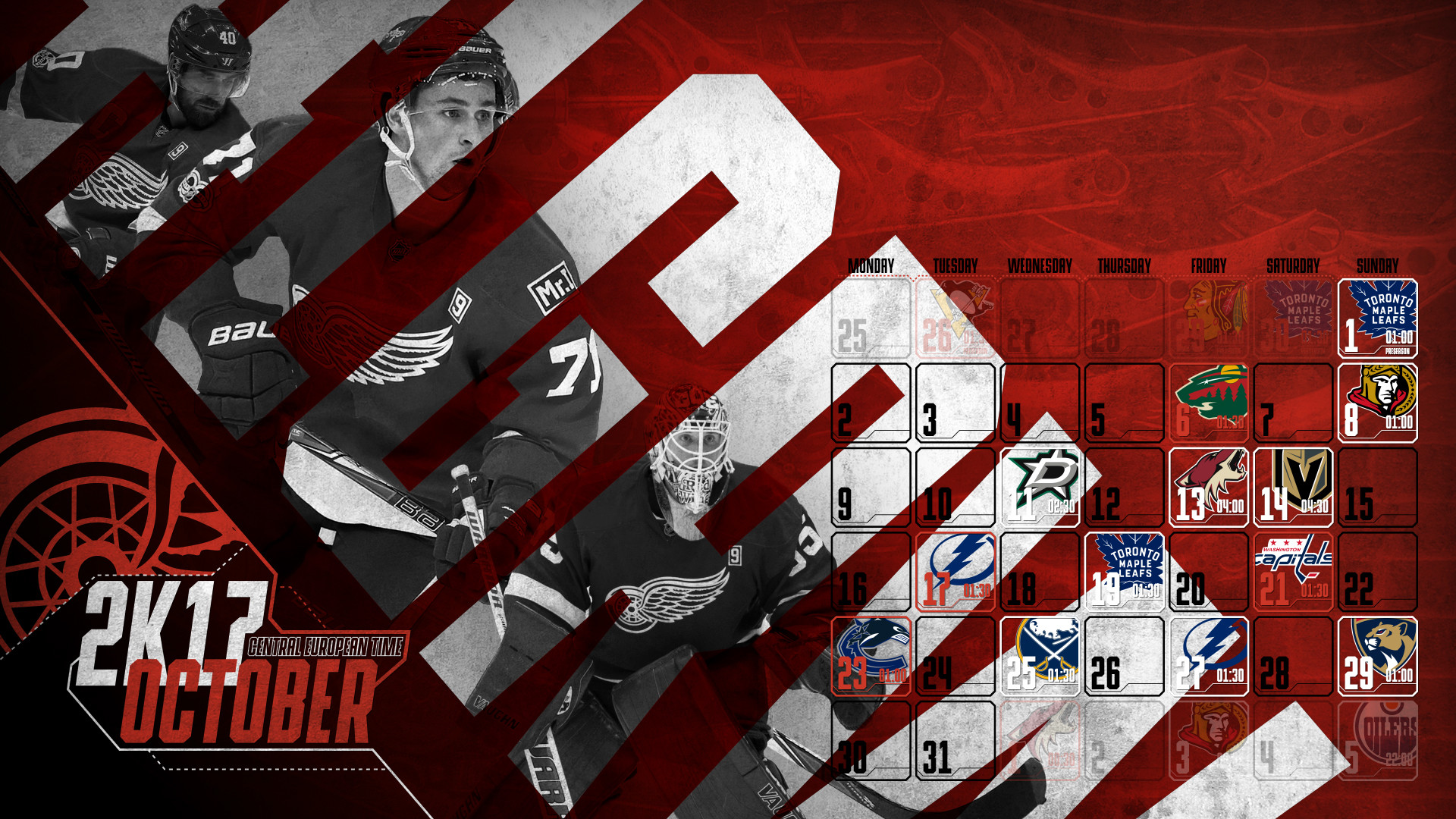 1920x1080 Schedule Wallpaper for the Detroit Red Wings Regular Season 2017. Game  times are CET.