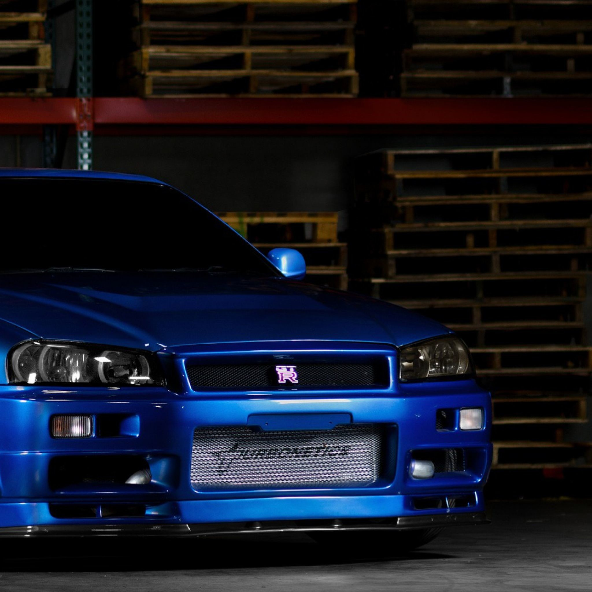 2048x2048 Download Wallpaper  Nissan skyline, Gtr, R34, Blue, Front .