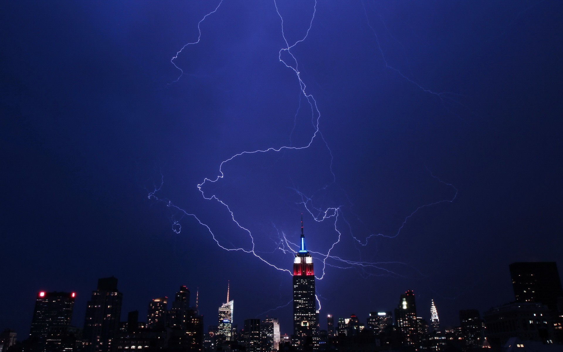 1920x1200 Storm empire state building lightning bolts wallpaper