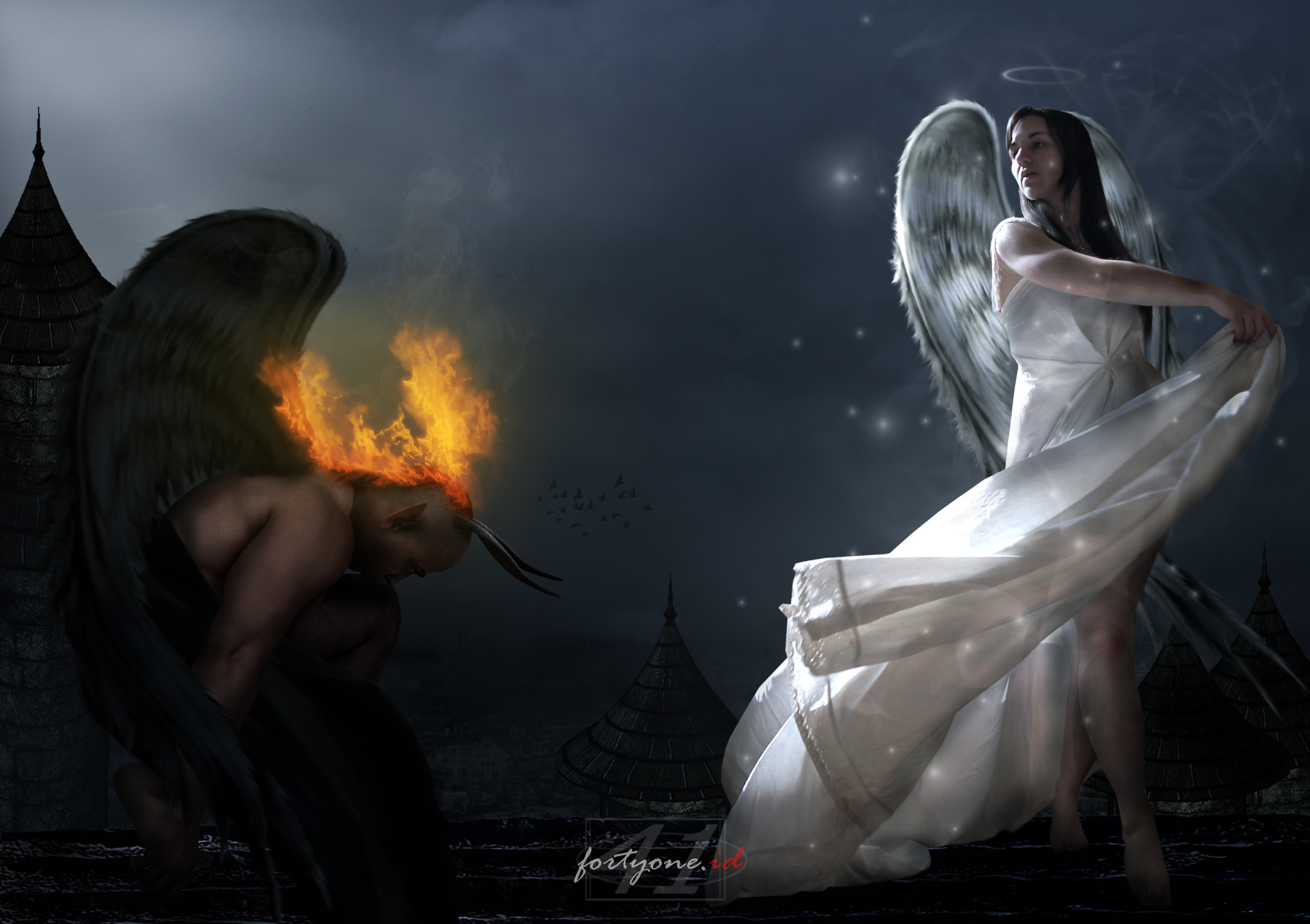 2295x1620 Demon and Angel wallpaper from Angels wallpapers