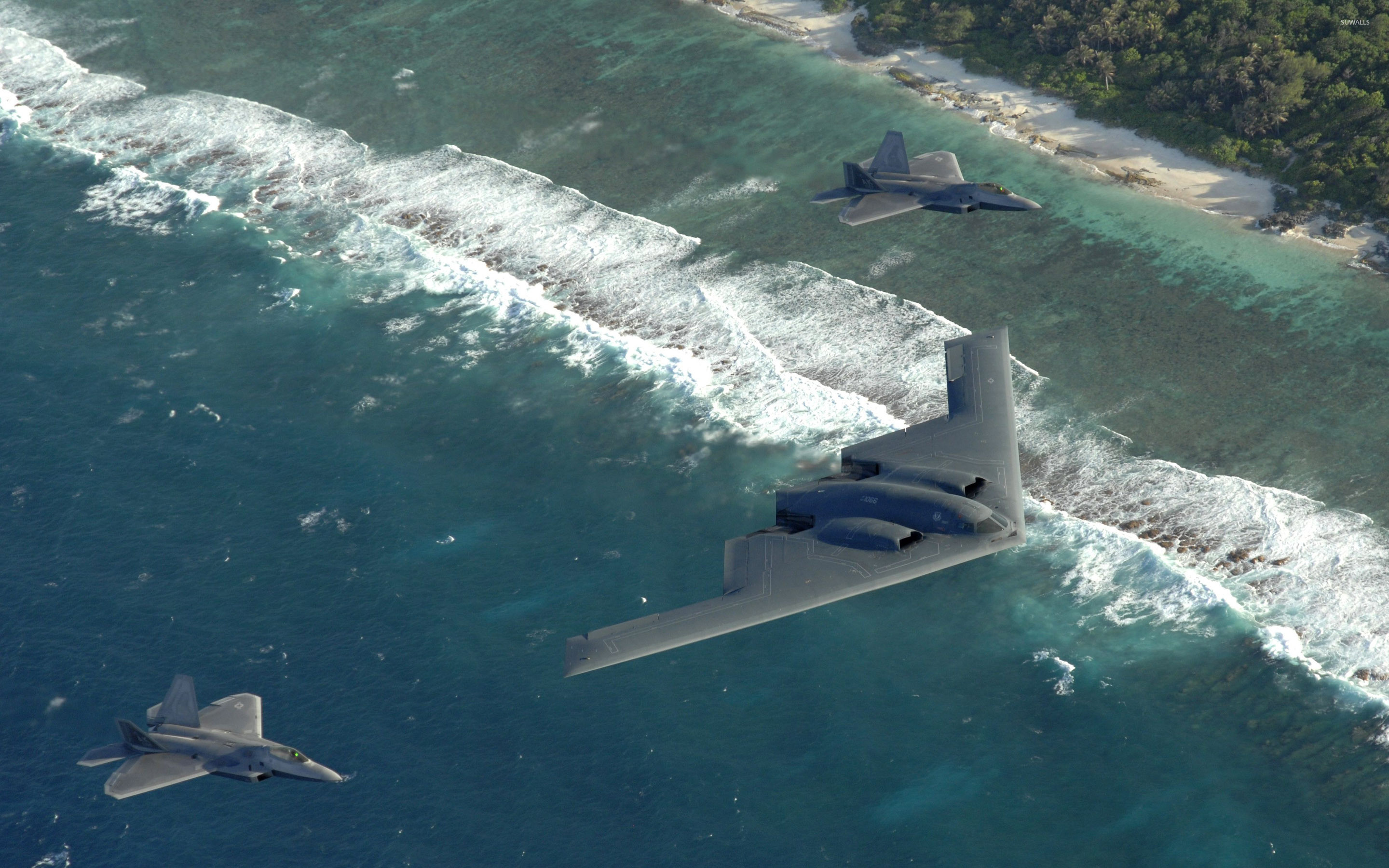 2880x1800 Northrop Grumman B-2 Spirit and Lockheed Martin F-22 Raptor wallpaper
