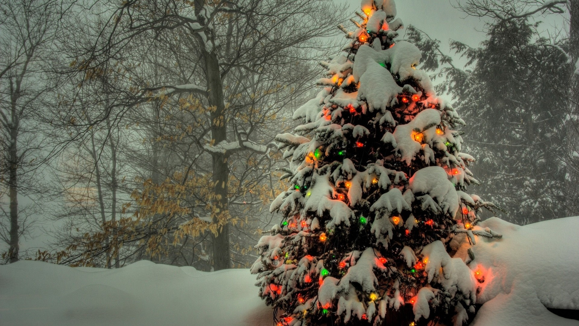 1920x1080 Preview wallpaper christmas tree, toys, light, snow