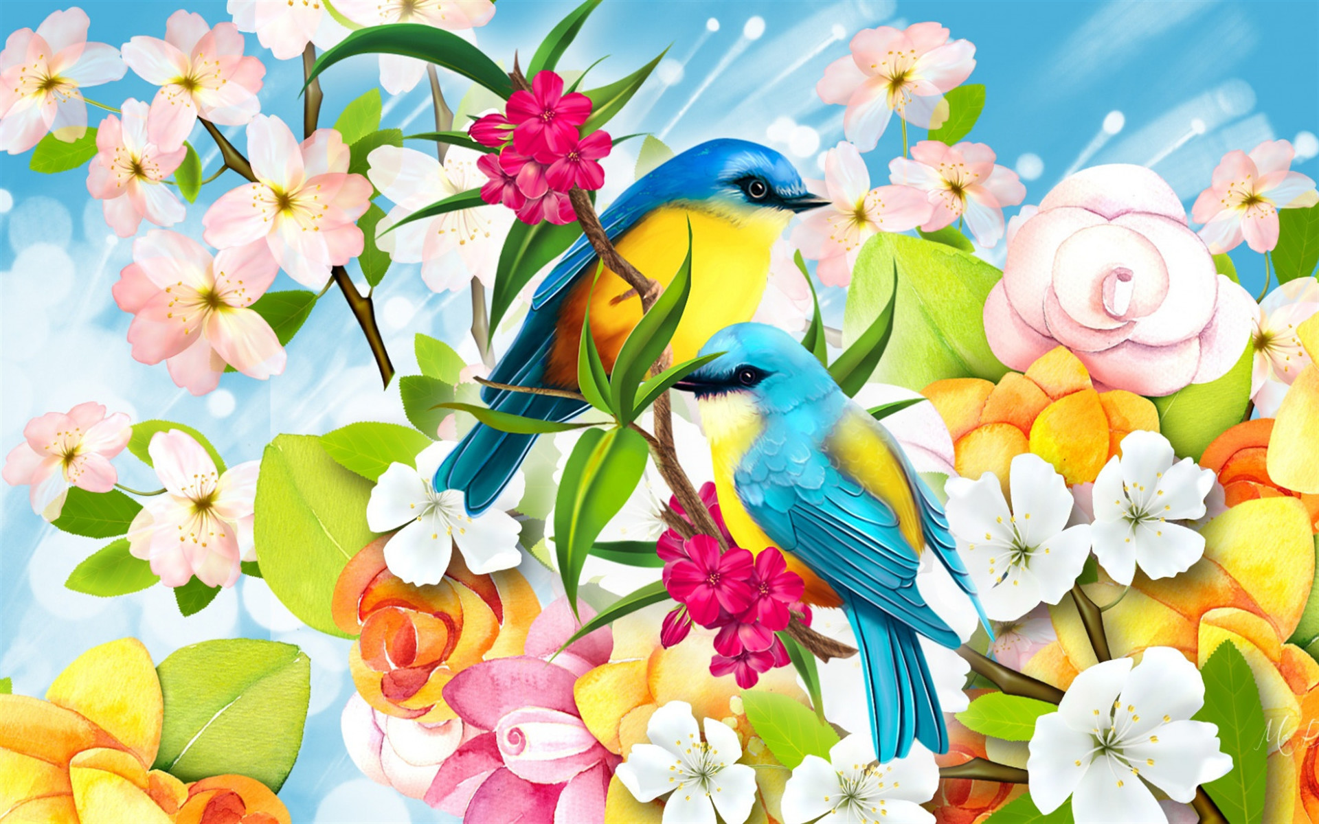 1920x1200 painted birds, blue-yellow birds, branch, drawing, art, spring flowers