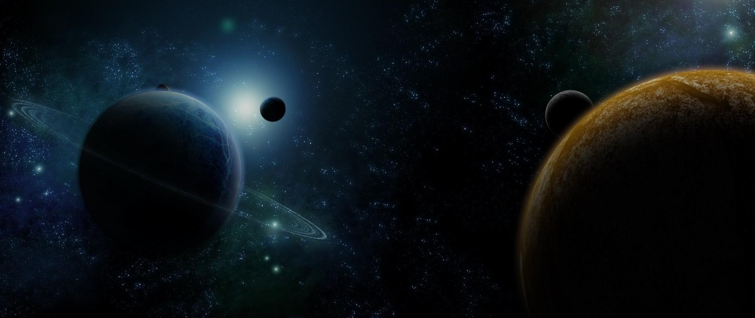 2560x1080  Wallpaper planet, ring, star, space