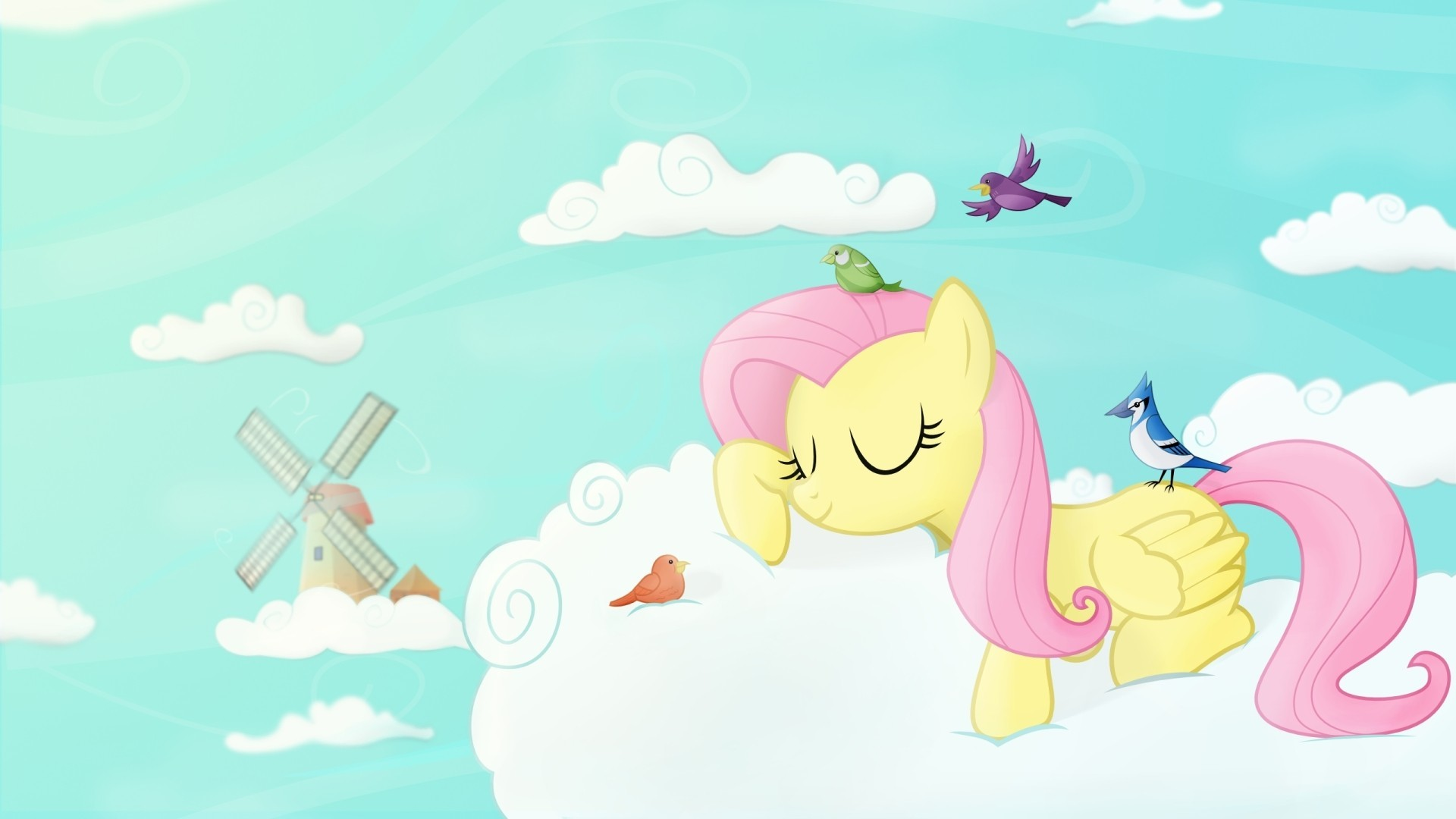 1920x1080 Clouds sleeping Fluttershy ponies My Little Pony: Friendship is Magic  wallpaper |  | 73468 | WallpaperUP
