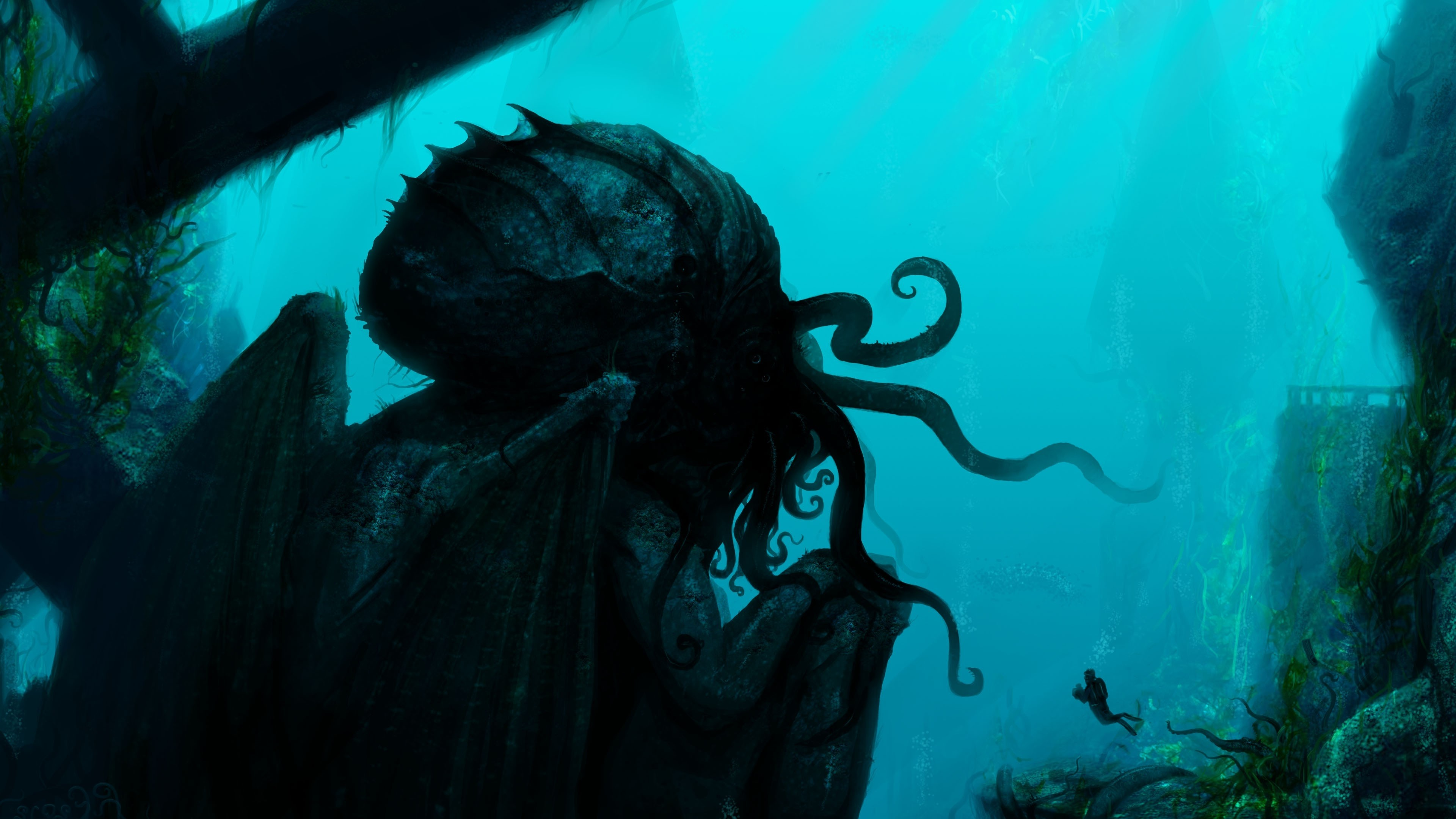3840x2160 Cthulhu fantasy underwater Wallpapers HD / Desktop and Mobile Backgrounds