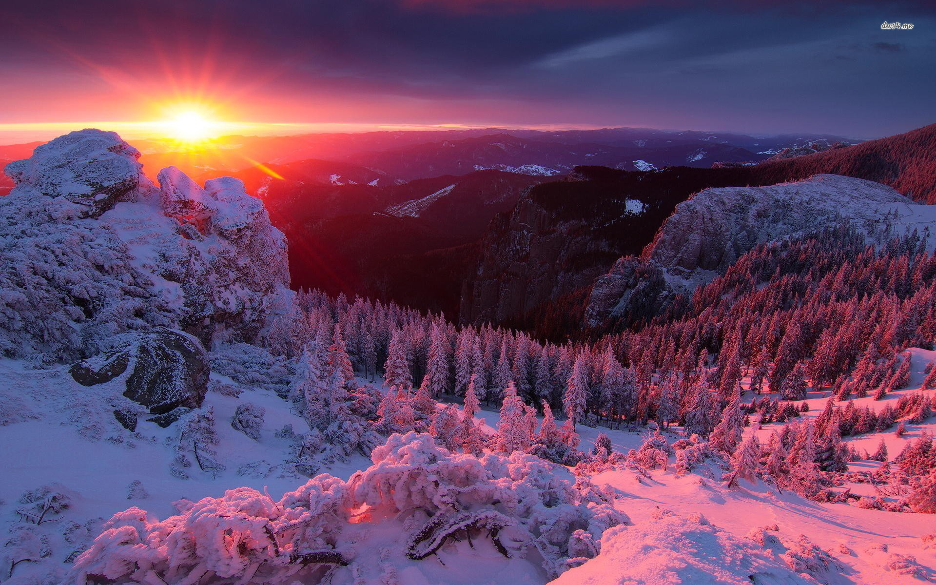 1920x1200 Sky HD Wallpapers – 26 – Amazing winter sunset in the mountains. Free  Download
