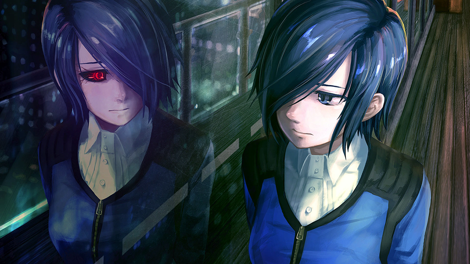 1920x1080 Preview wallpaper tokyo ghoul, kirishima touka, girl, anime, reflection