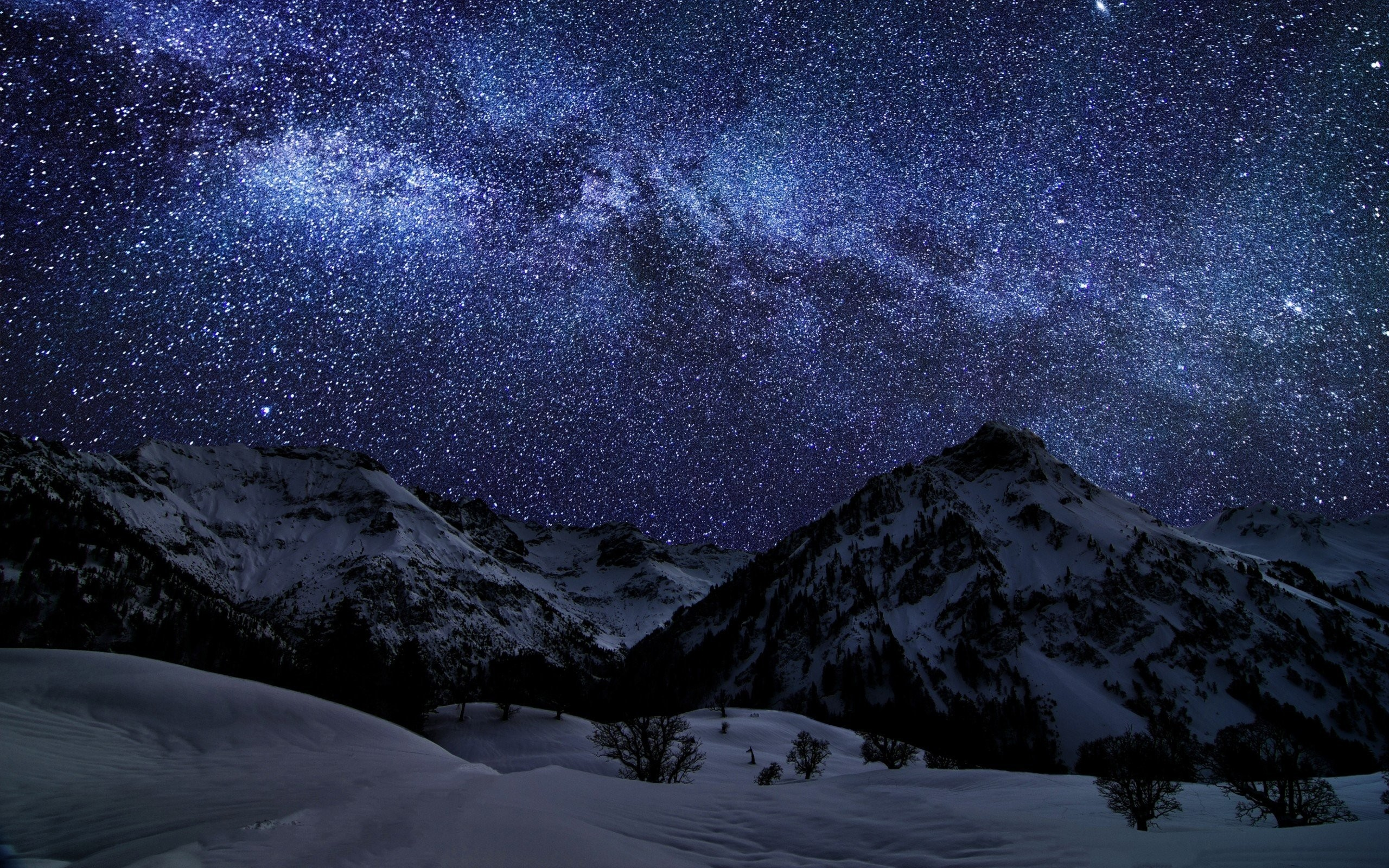 2560x1600 Landscapes-mountains-snow-skies-stars-starry-night-nature