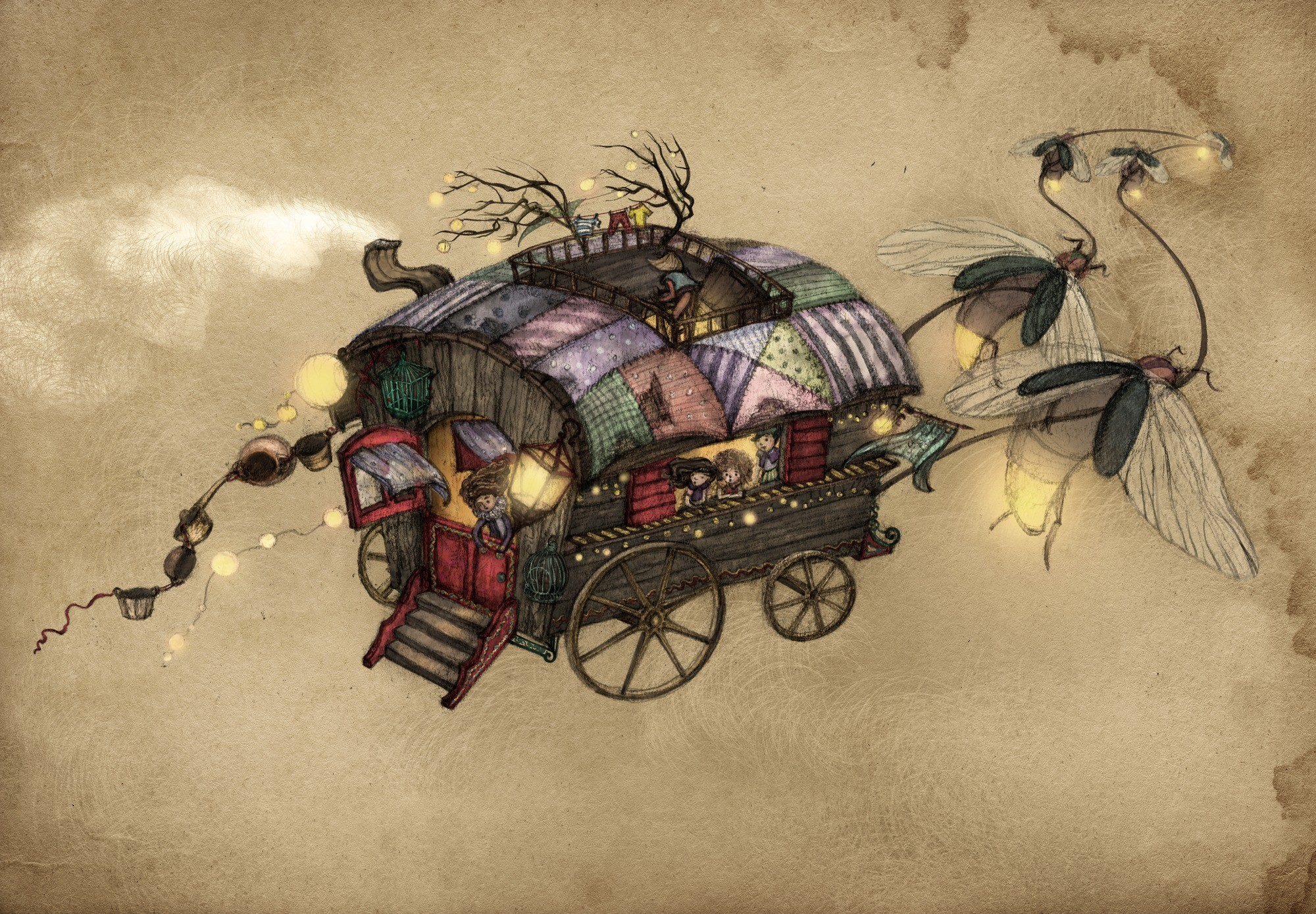 2000x1389 Gypsy Wagon Wall Mural Photo Wallpaper