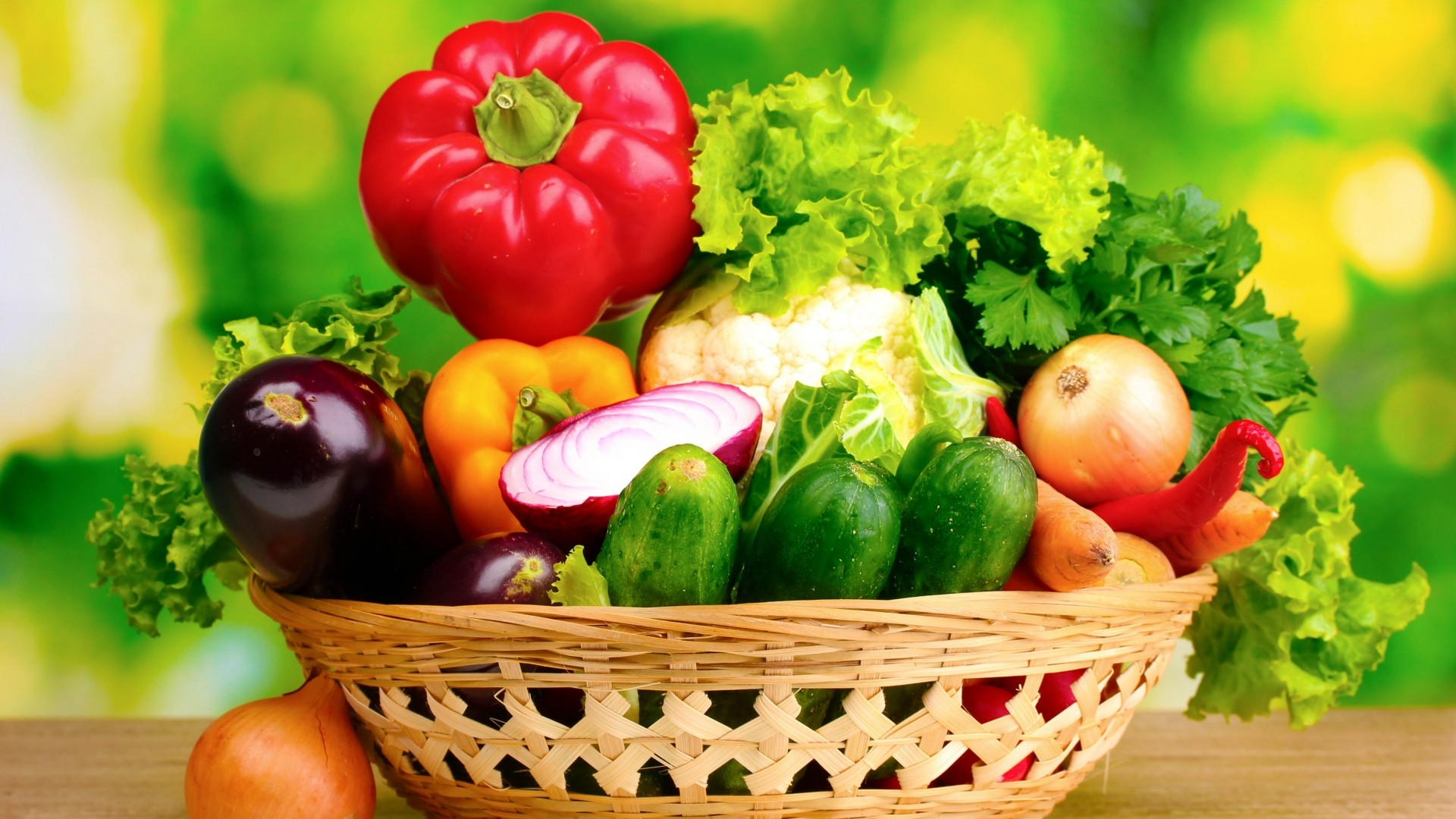 1920x1080  Wallpaper vegetables, basket, green background, garden, greens