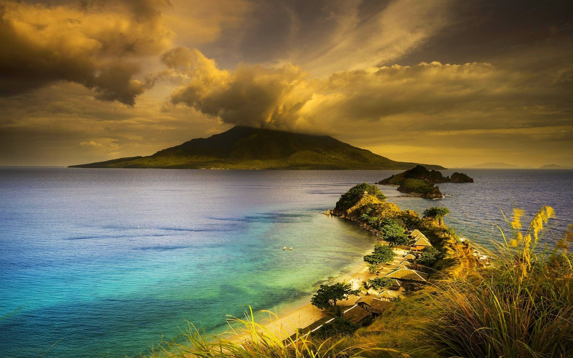 1920x1200 nature, Landscape, Philippines, Volcano, Beach, Island, Clouds, Peninsulas,  Grass, Sea, Mountain, Trees, House, Sunset Wallpapers HD / Desktop and  Mobile ...