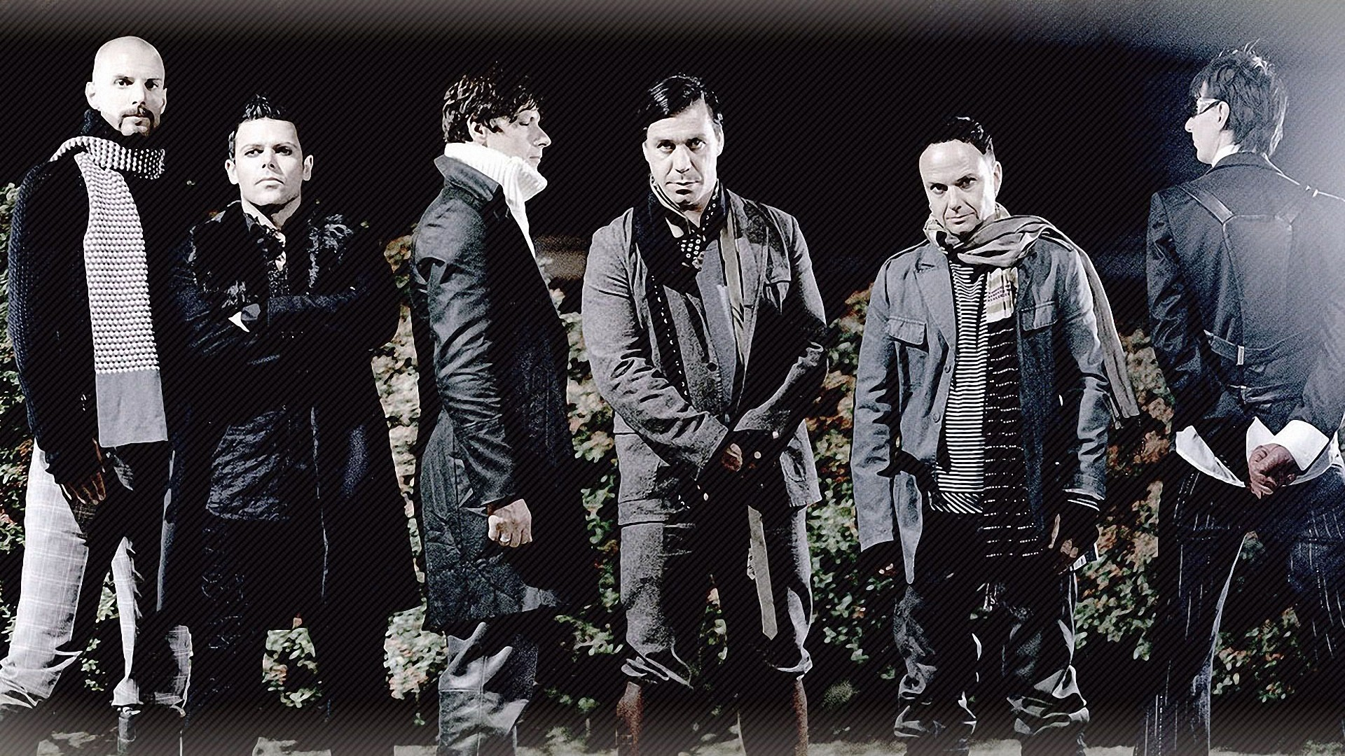 1920x1080 Preview wallpaper rammstein, band, clothes, light, graphics