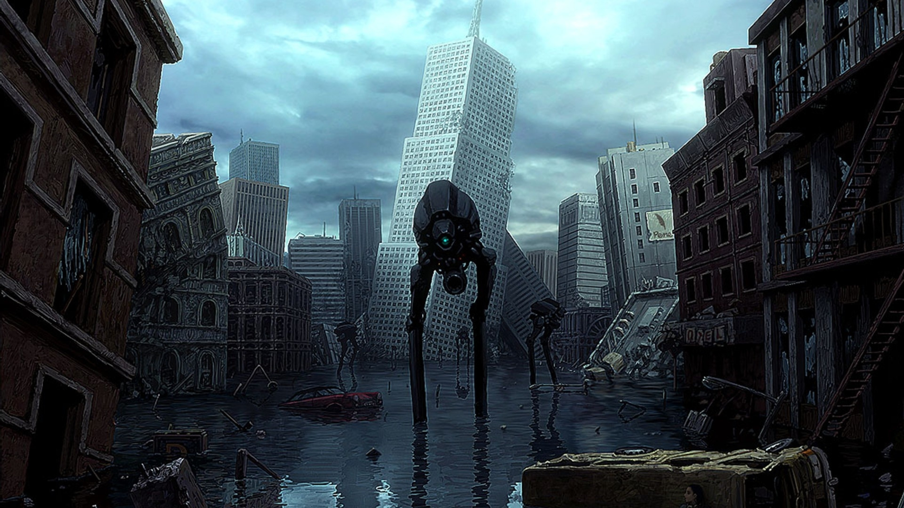 3840x2160  Wallpaper half-life, city, house, robots, water