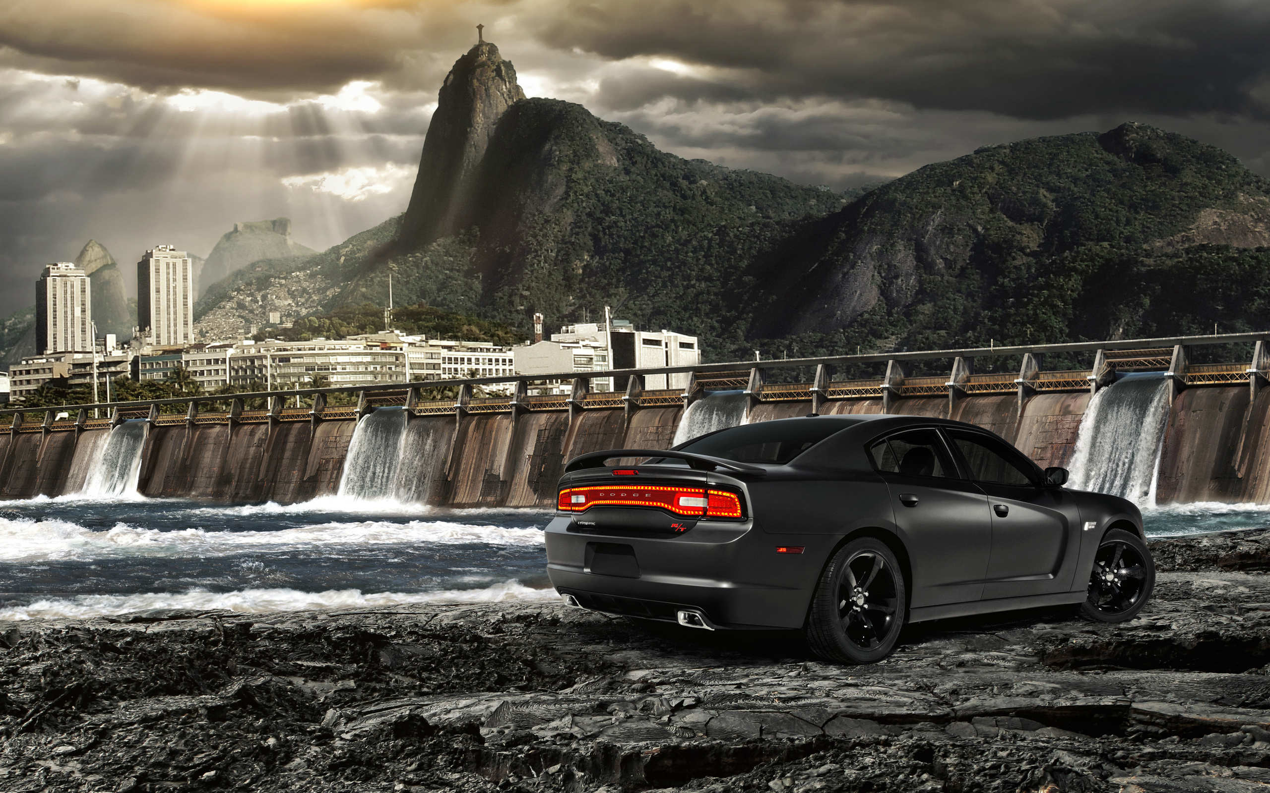 2560x1600 2014 Black Dodge Charger Wallpaper - HD