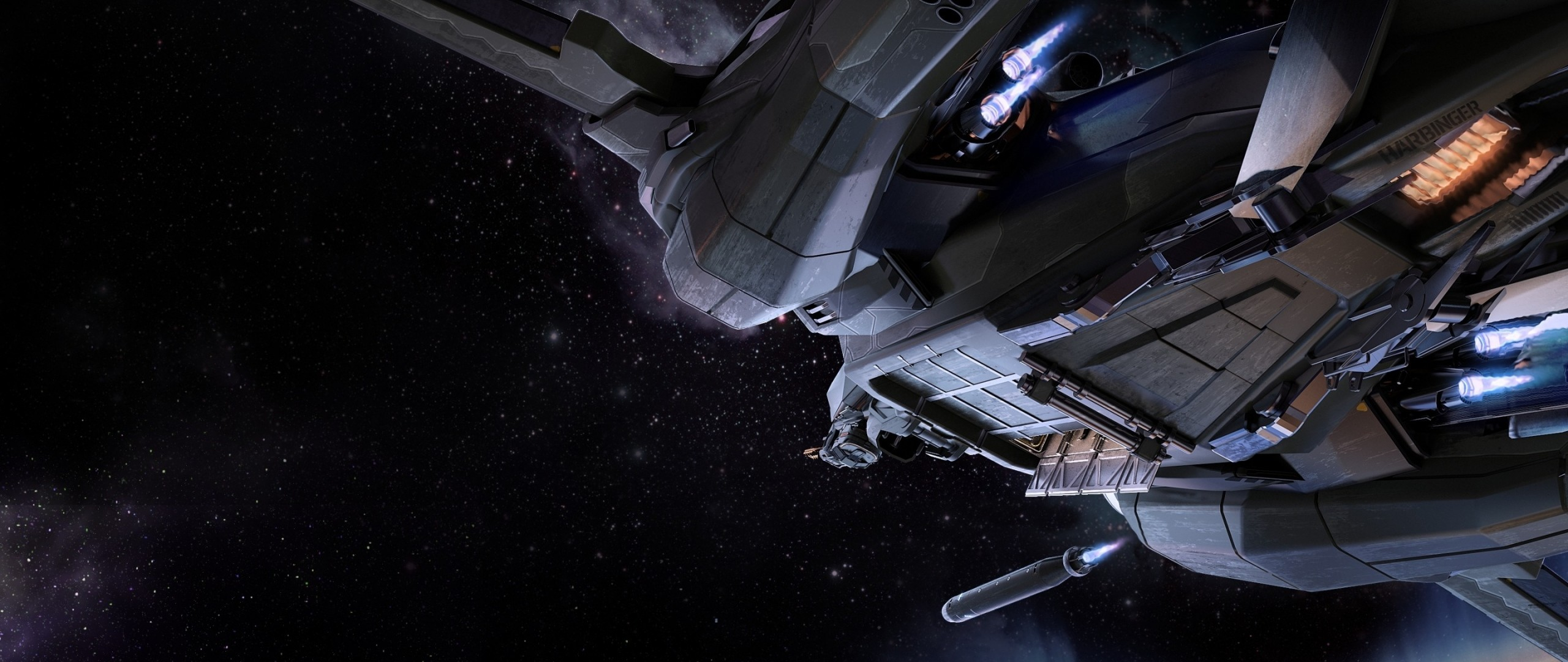 2560x1080  Wallpaper star citizen, vanguard, fighter, art