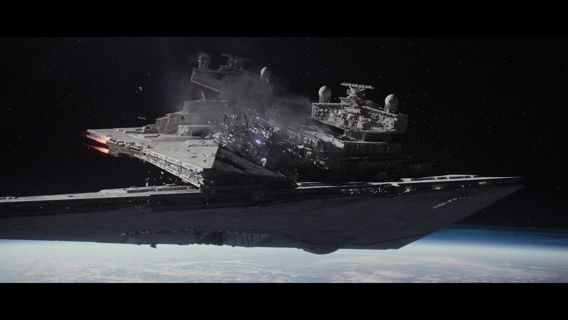 1920x1080 Wallpaper of a Star Destroyer destroying another Star Destroyer (Rogue One)