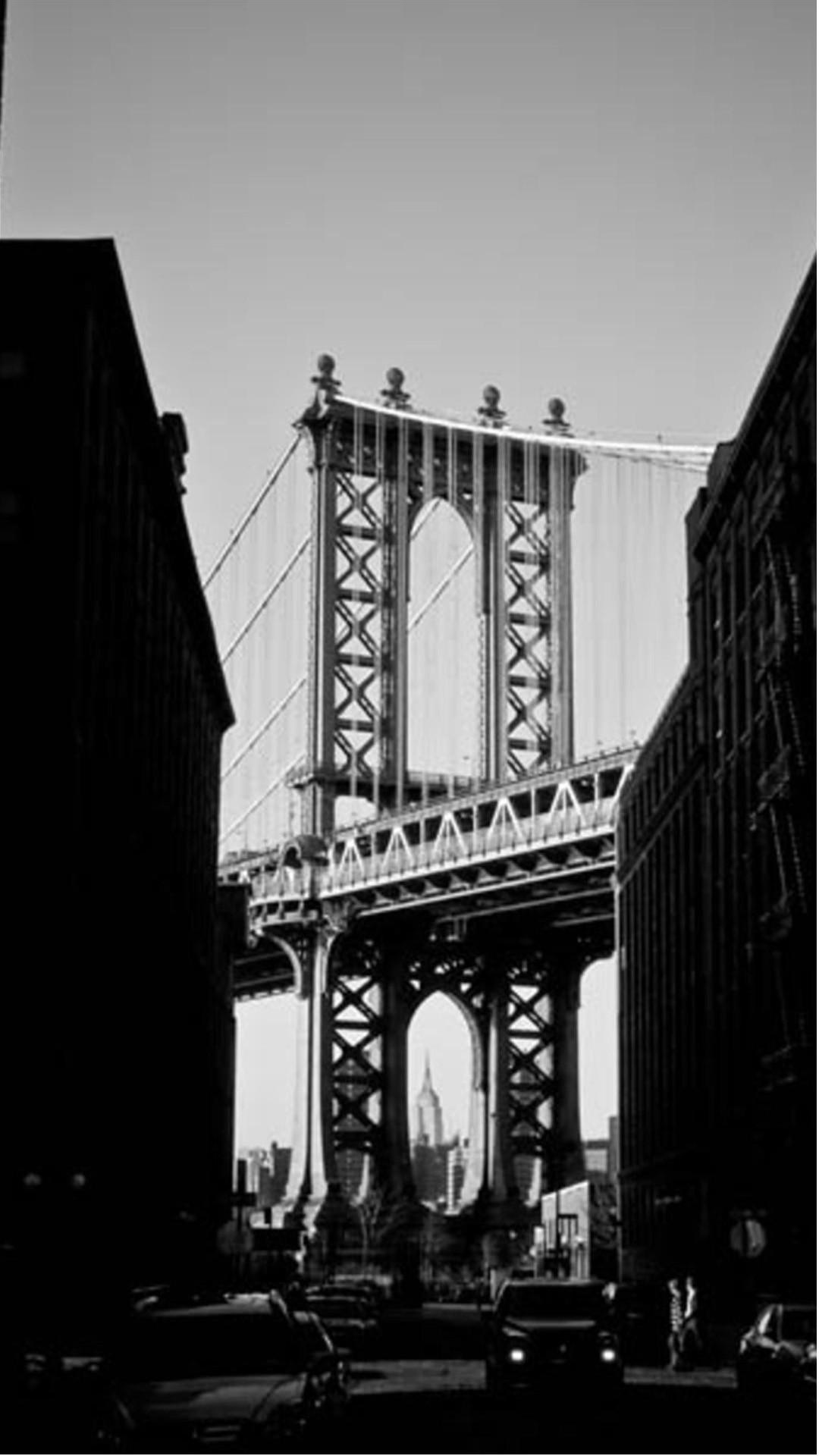 1080x1920 Manhattan Bridge New York Black And White Android Wallpaper