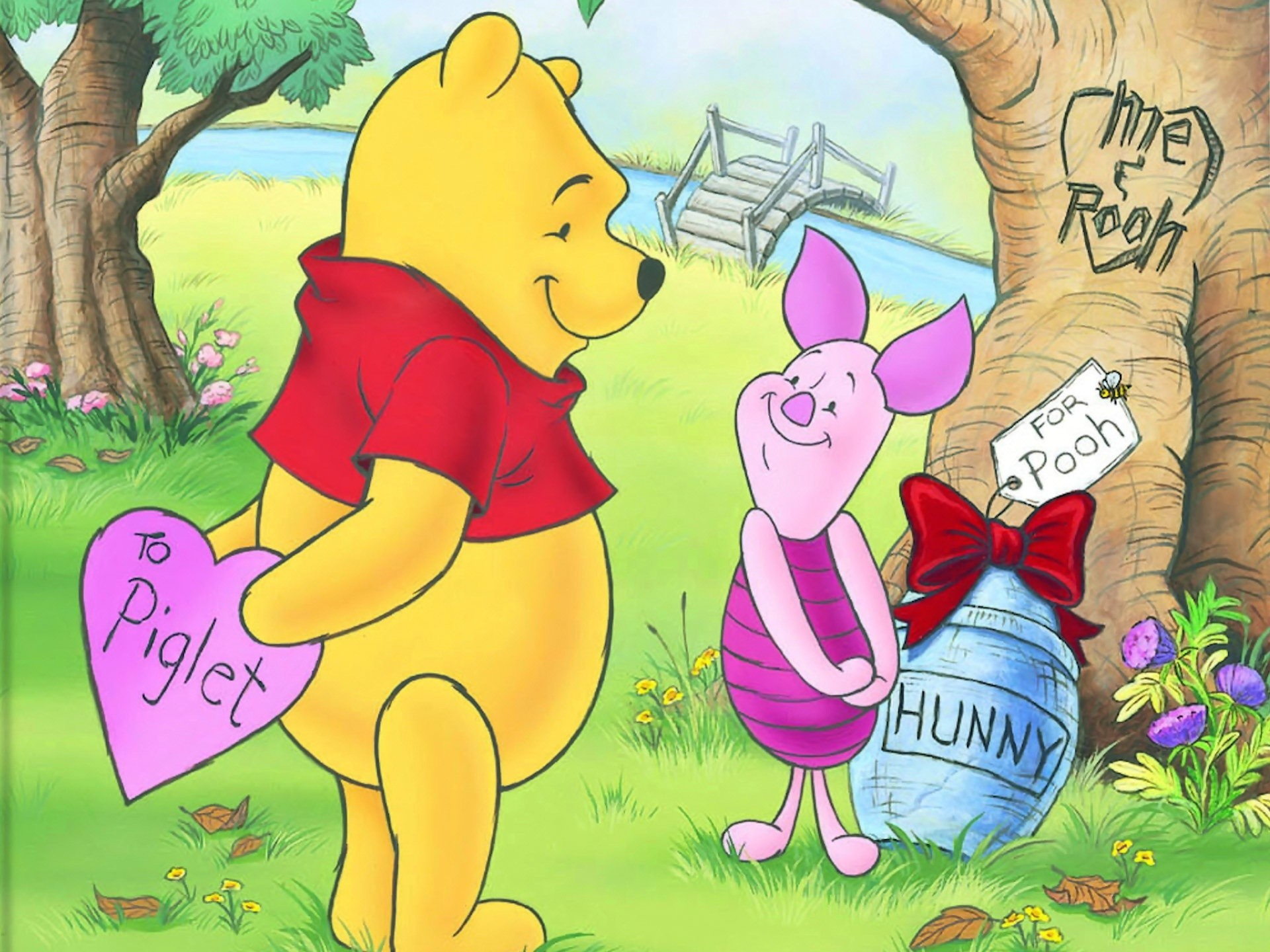1920x1440 Disney Valentines Day Piglet and Pooh Wallpaper - A beautiful wallpaper for Valentine's  Day with Piglet and Pooh, among the most loved anima.