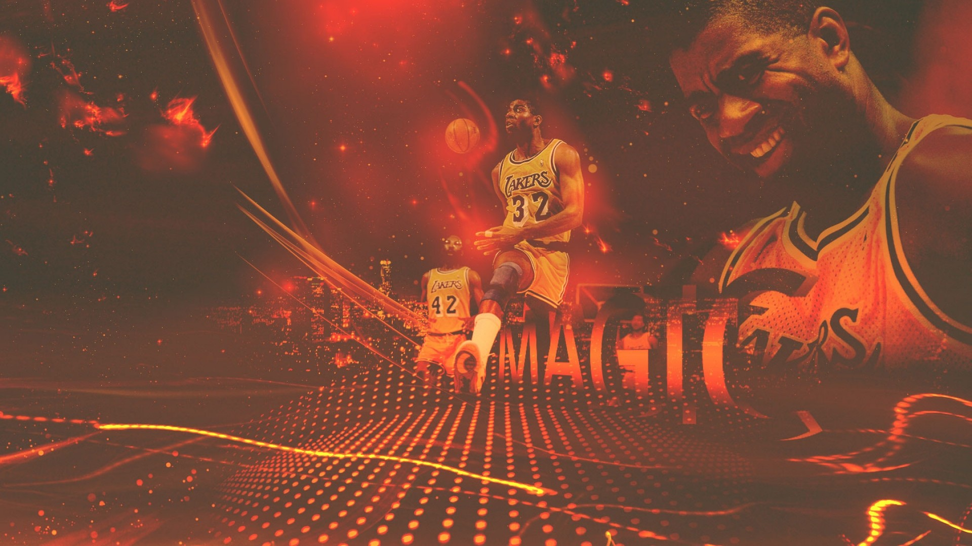 1920x1080 Magic Johnson Lakers wallpaper