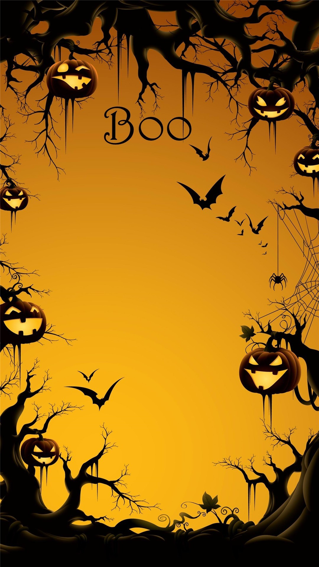 1080x1920 2014 Boo Halloween iPhone 6 plus wallpaper with pumpkin on the tree - bats  #2014