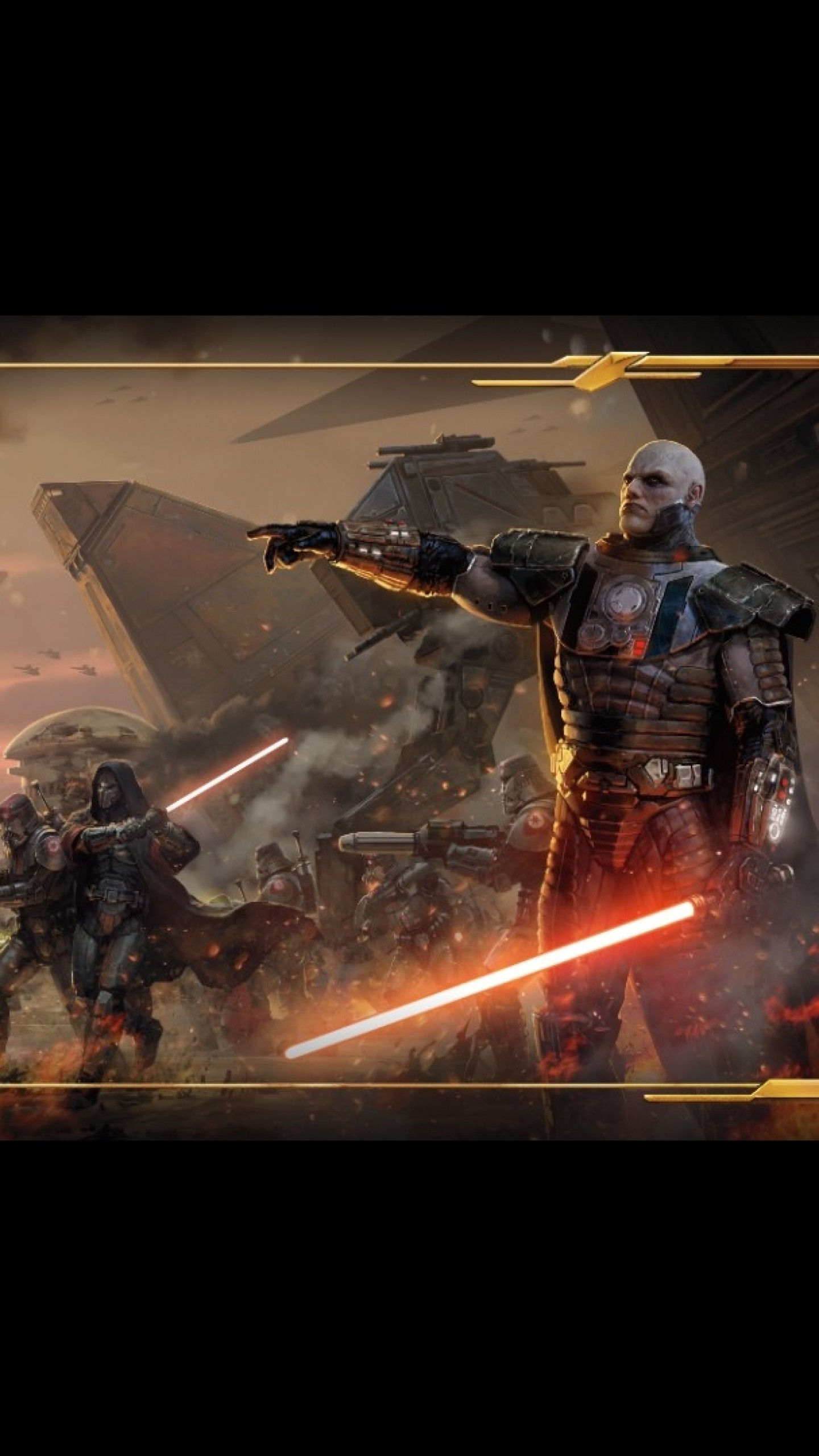 1440x2560 Preview wallpaper star wars the old republic, battle, gun, lightsabers,  game