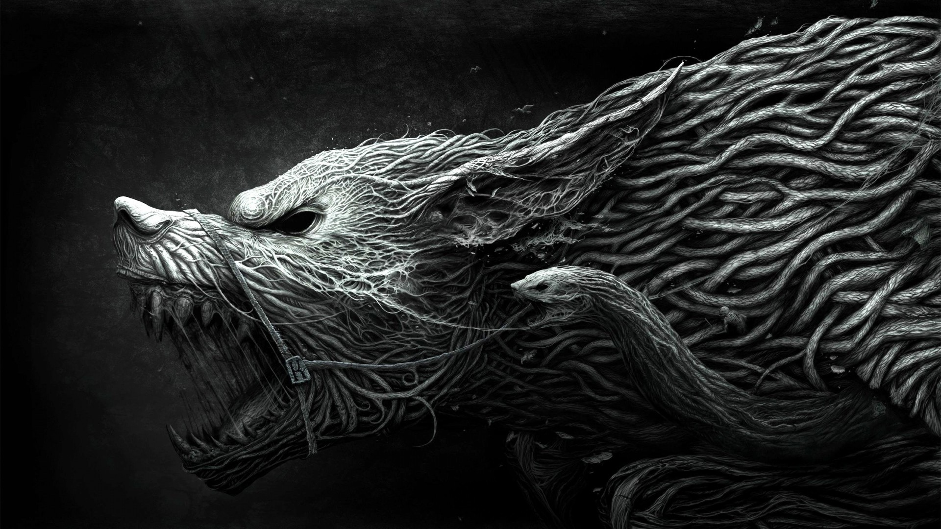 1920x1080 Preview wallpaper wolf, teeth, drawing, aggression, black, white