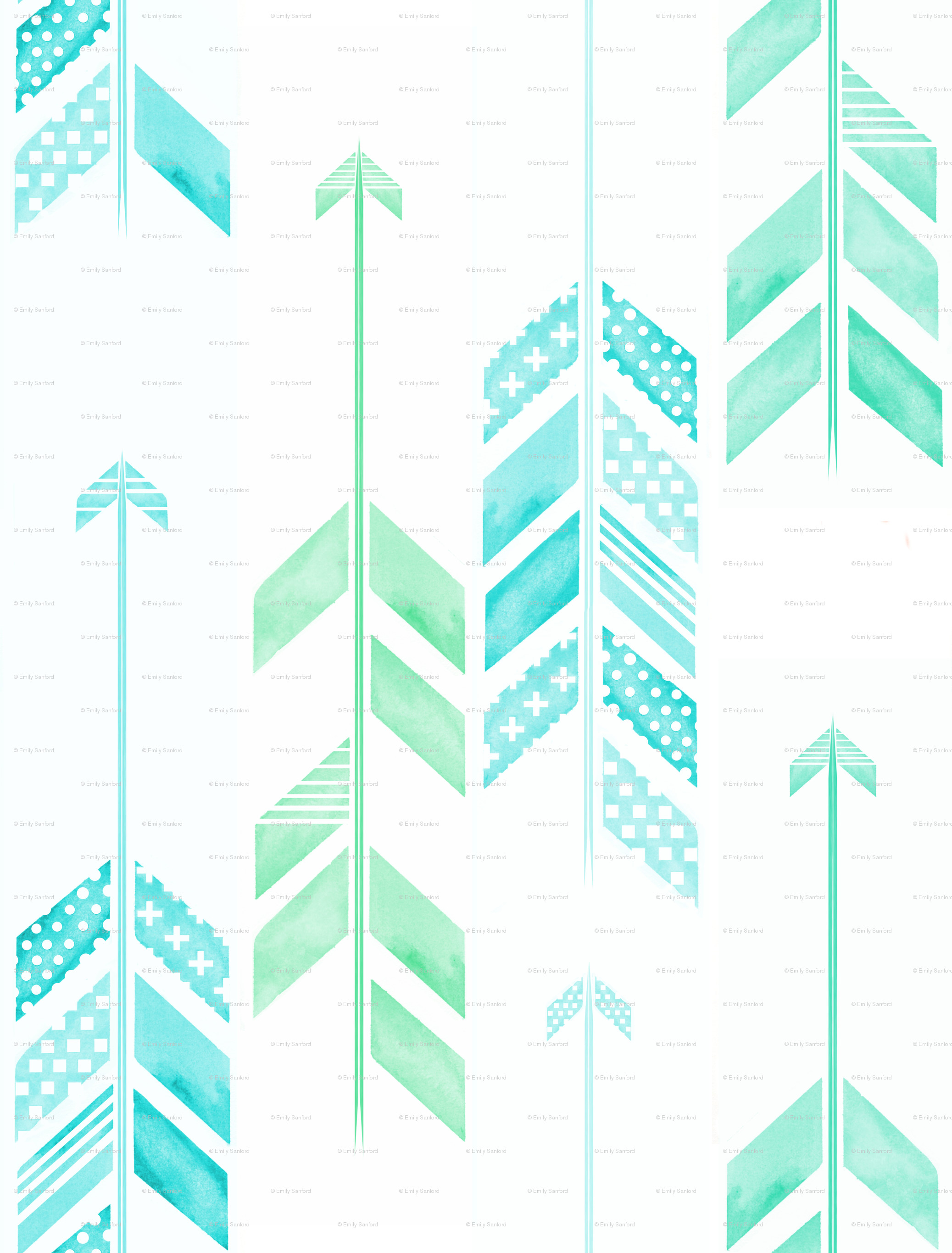 2075x2730 Mint Green Tribal Wallpaper Arrows in blue & green