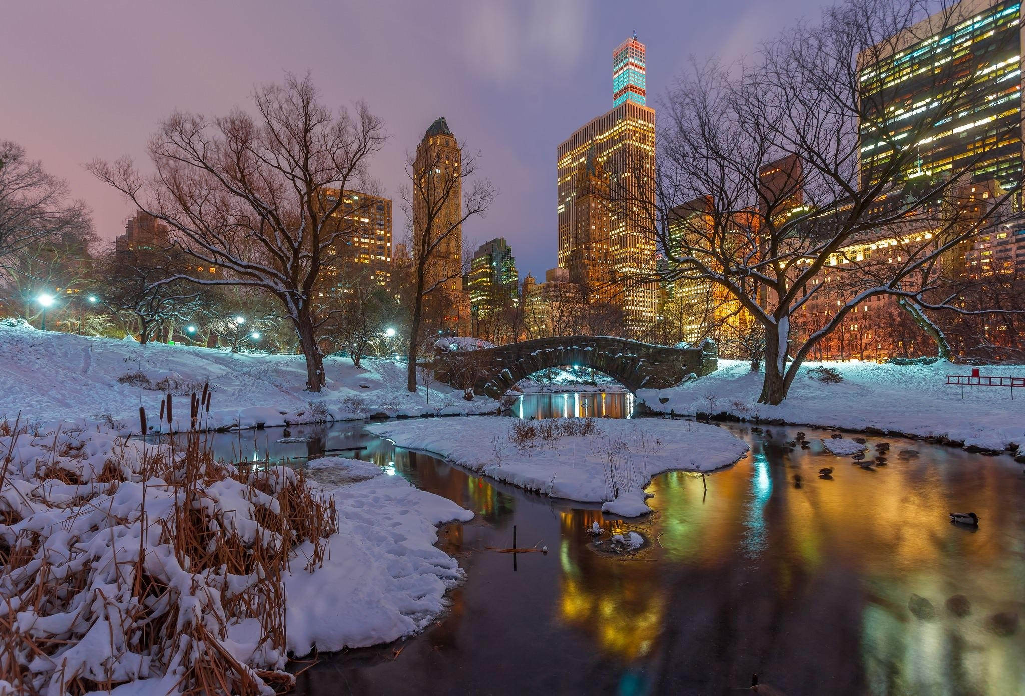 2048x1391 Central park, skyscrapers, reflection, snow, Gapstow Bridge, winter, trees,