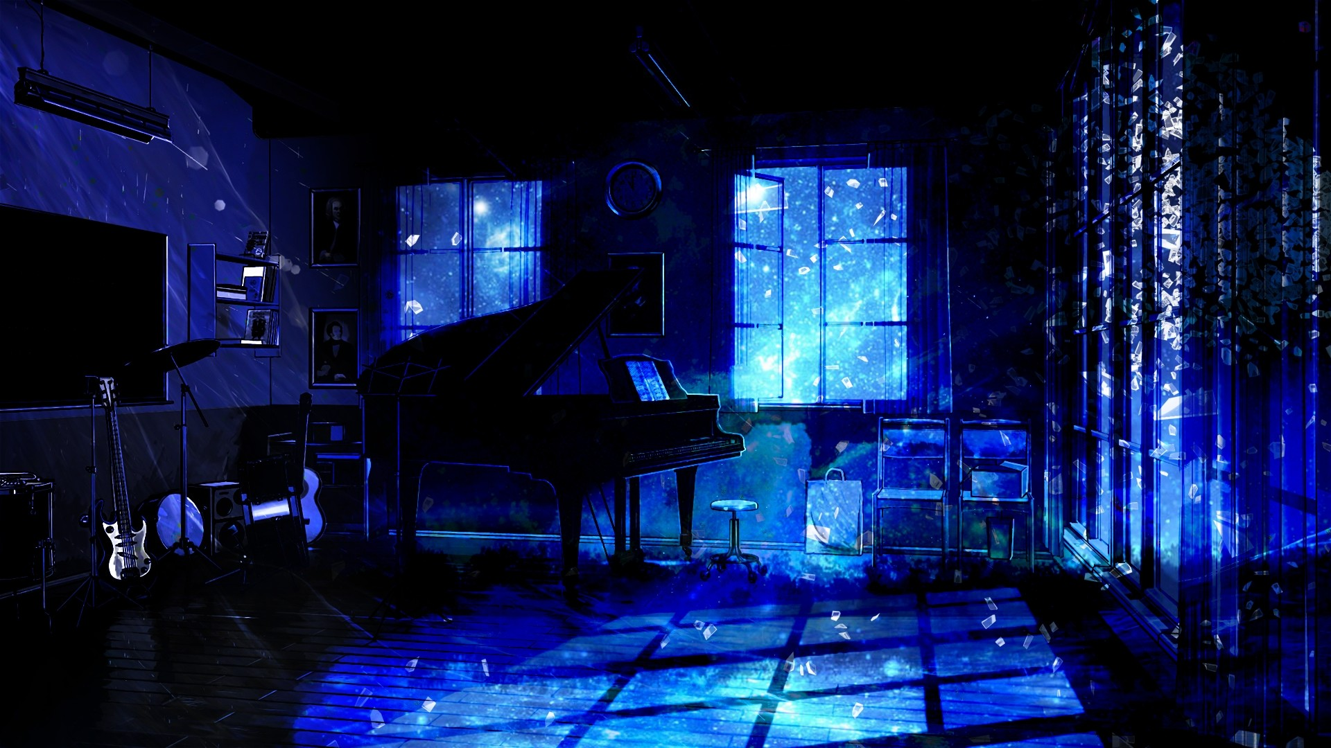 1920x1080 Downaload Music room, piano, anime, original, dark wallpaper, ,  Full HD, HDTV, FHD, 1080p