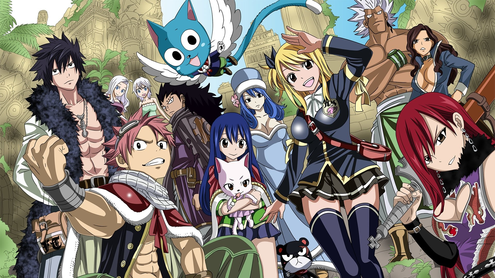1920x1080 Anime - Fairy Tail Lucy Heartfilia Natsu Dragneel Happy (Fairy Tail) Wendy  Marvell Erza