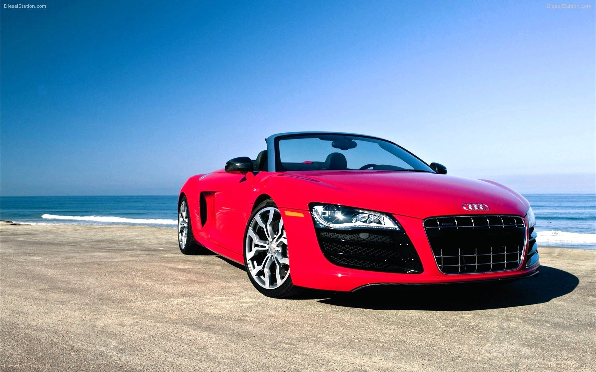 1920x1200 Red Audi R8 GT in Beach Car Wallpapers